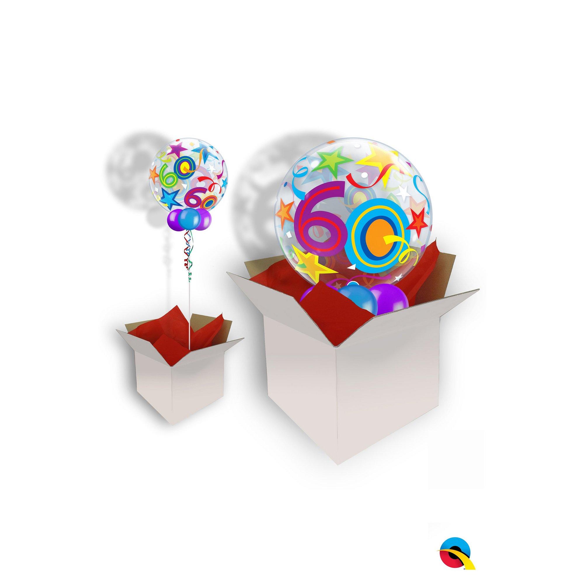 Image of 60th Birthday Brilliant Stars Bubble Balloon
