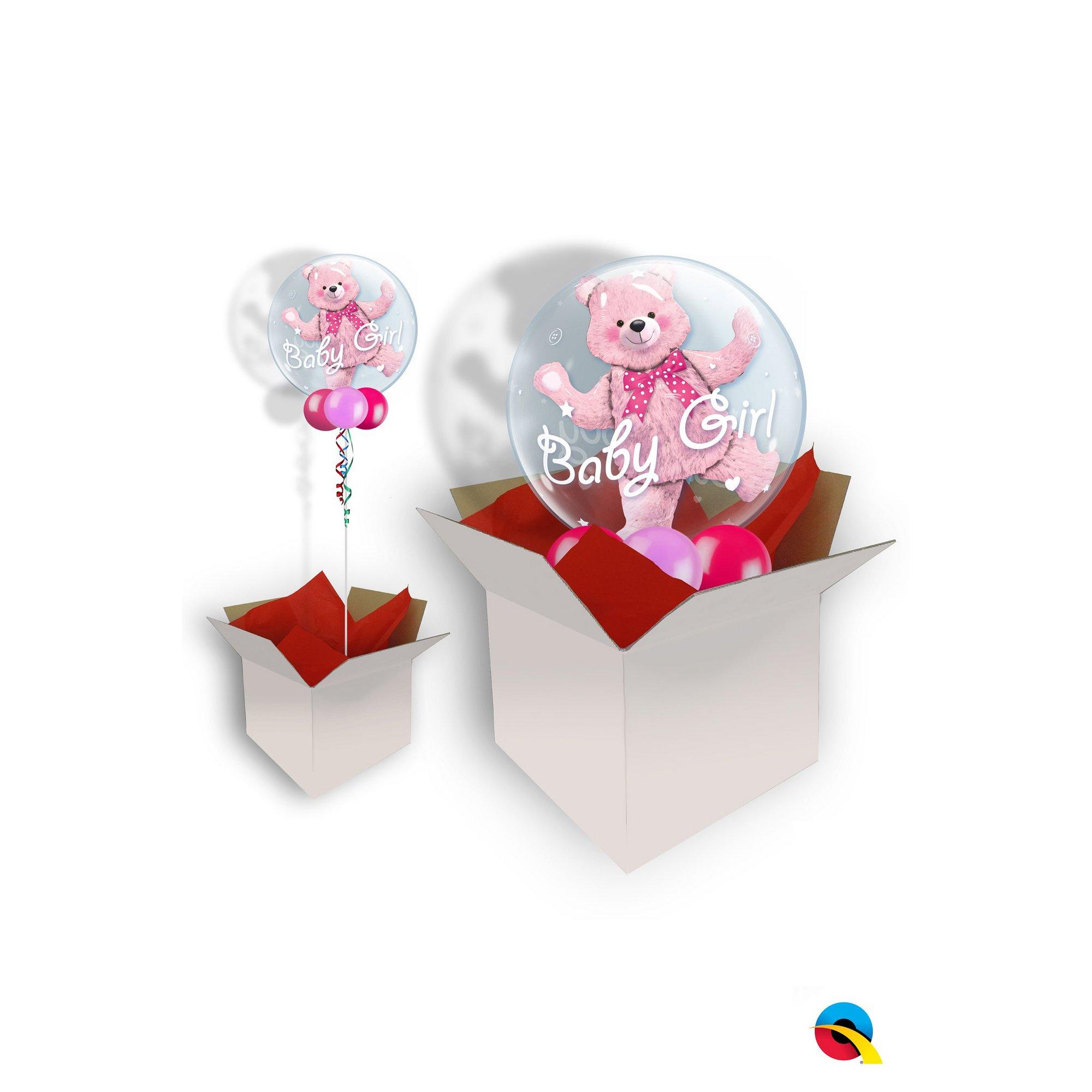 Image of Baby Girl Bear Double Bubble Balloon