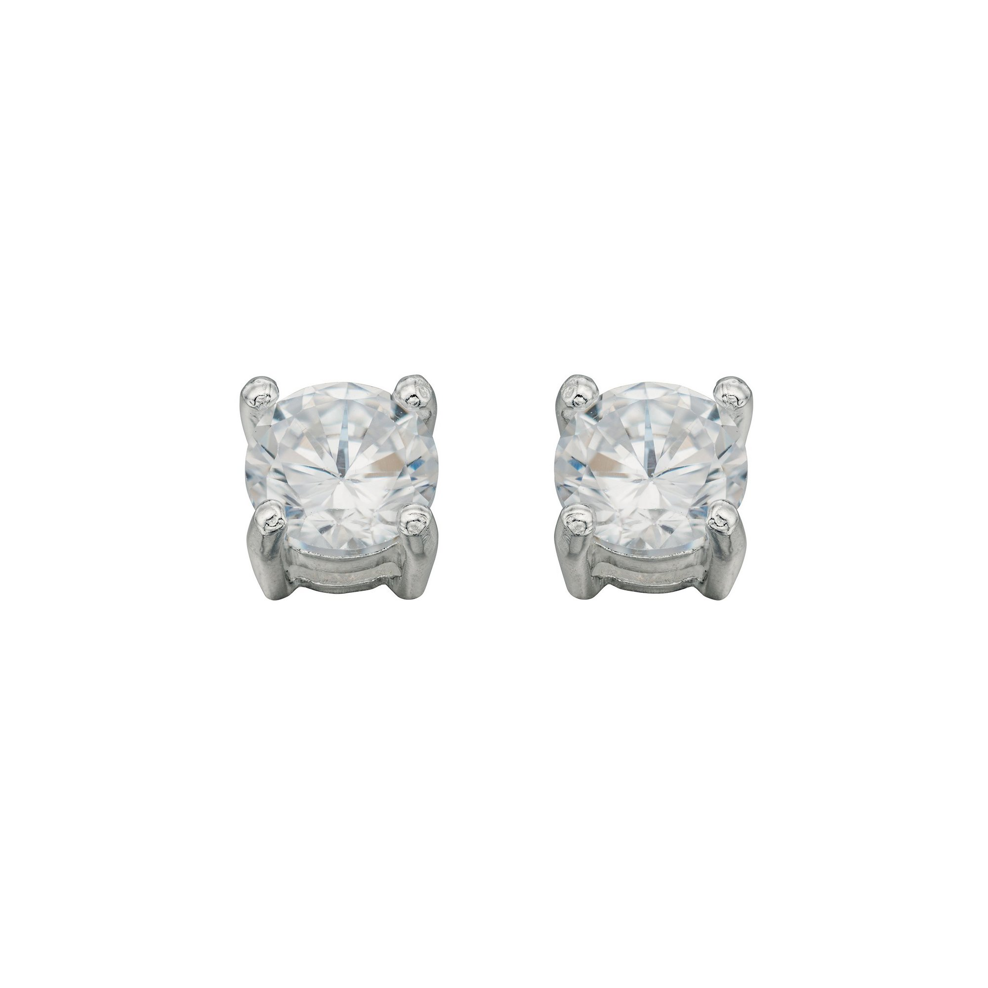 Image of Beginnings Clear CZ Medium Round Stud Earrings