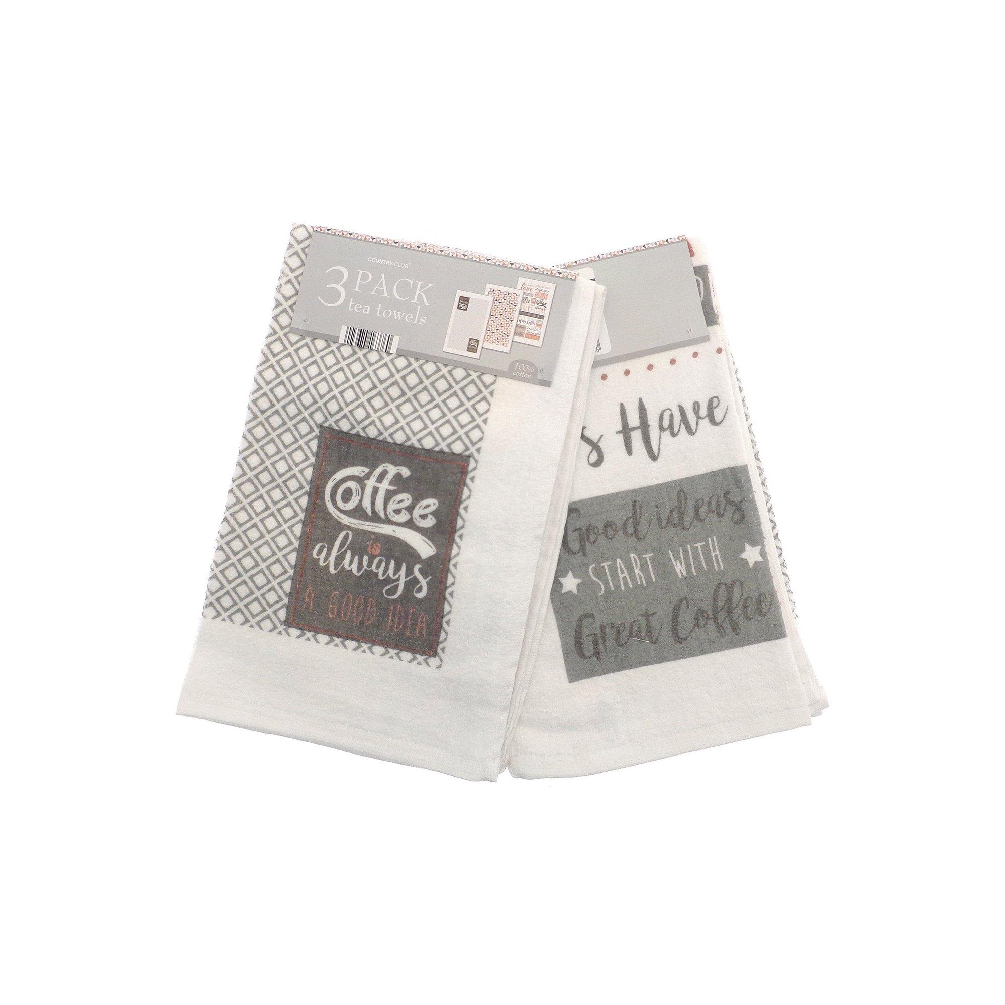 Image of Pack of 3 Velour Tea Towels - Coffee