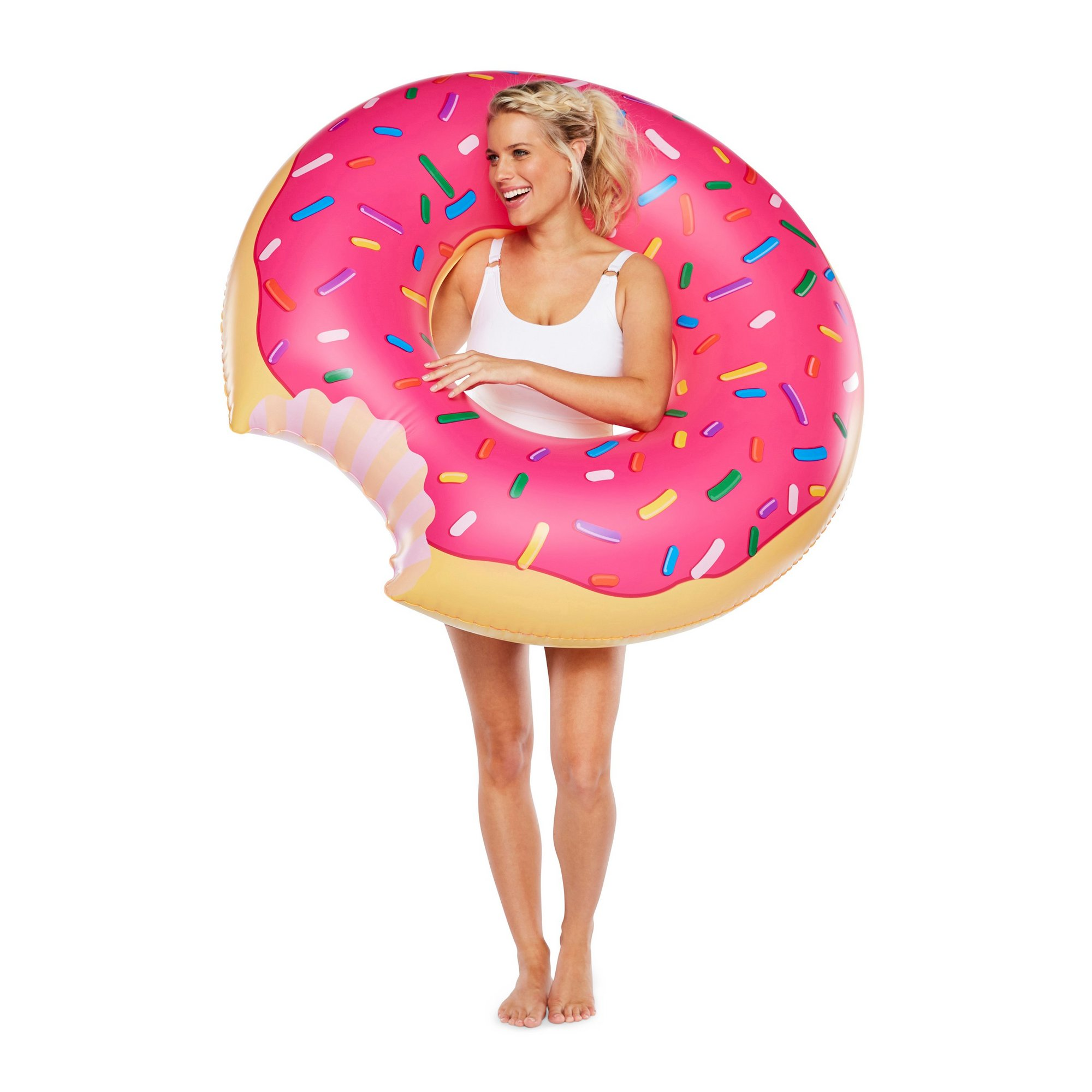 Image of Giant Pink Frosted Donut Pool Float