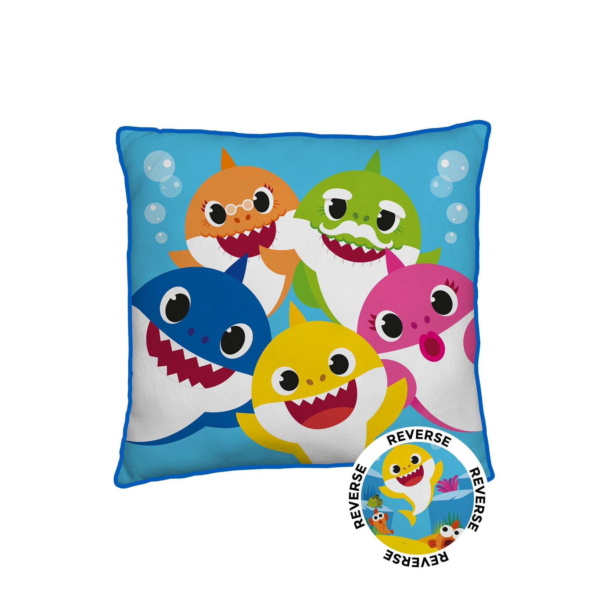 Image of Baby Shark Family Square Cushion