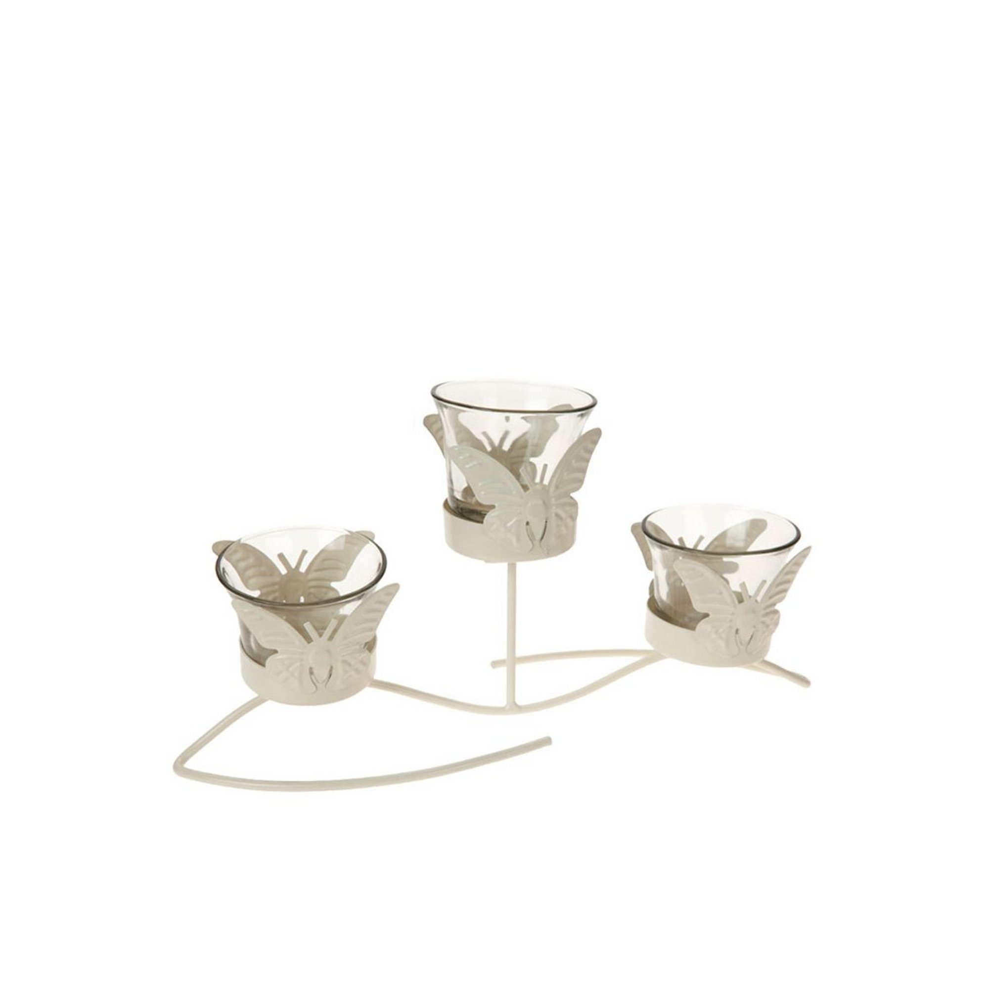 Image of Cream Triple Butterfly Garden Candle Holder