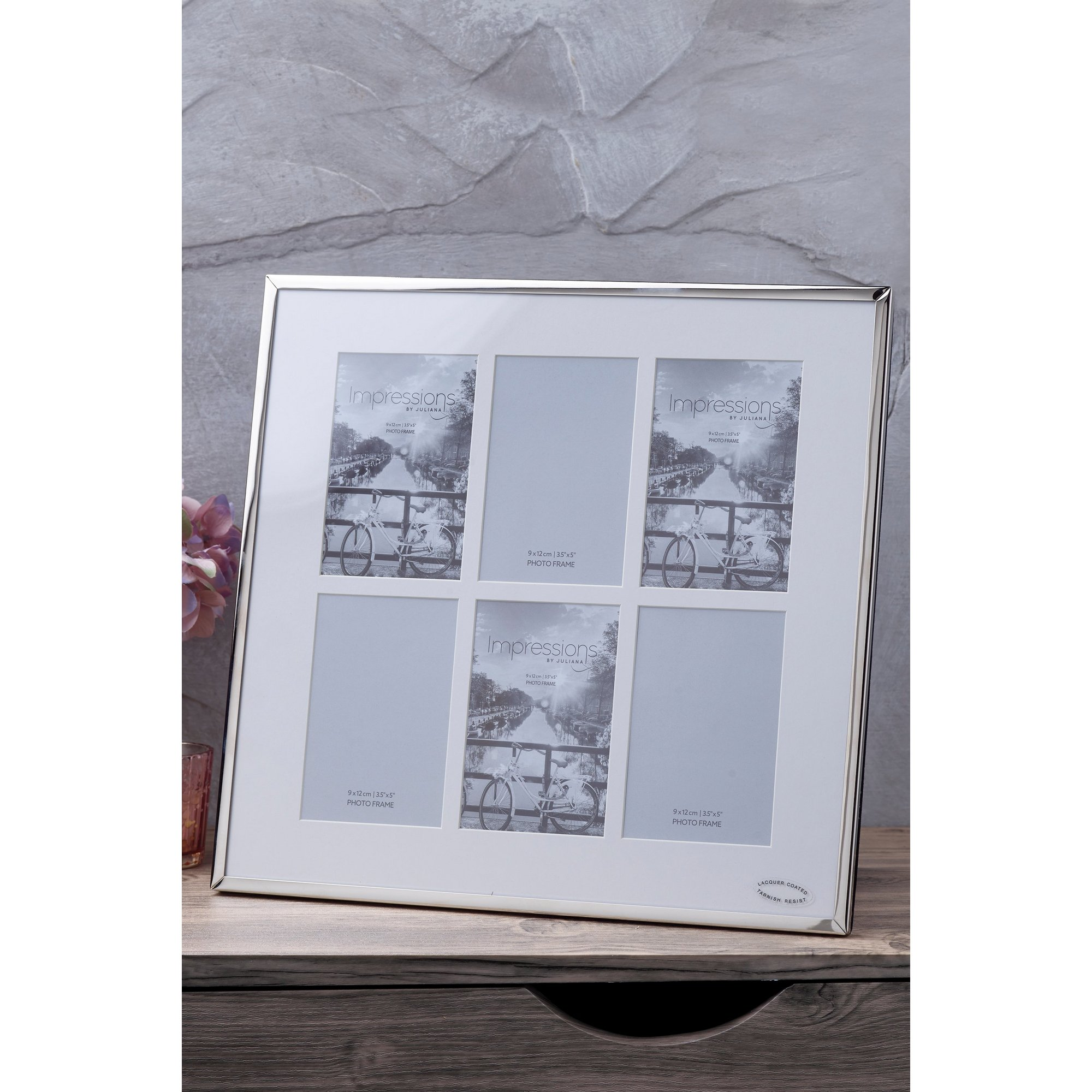 Image of Nickel Plated Photo Frame - 6 Apertures
