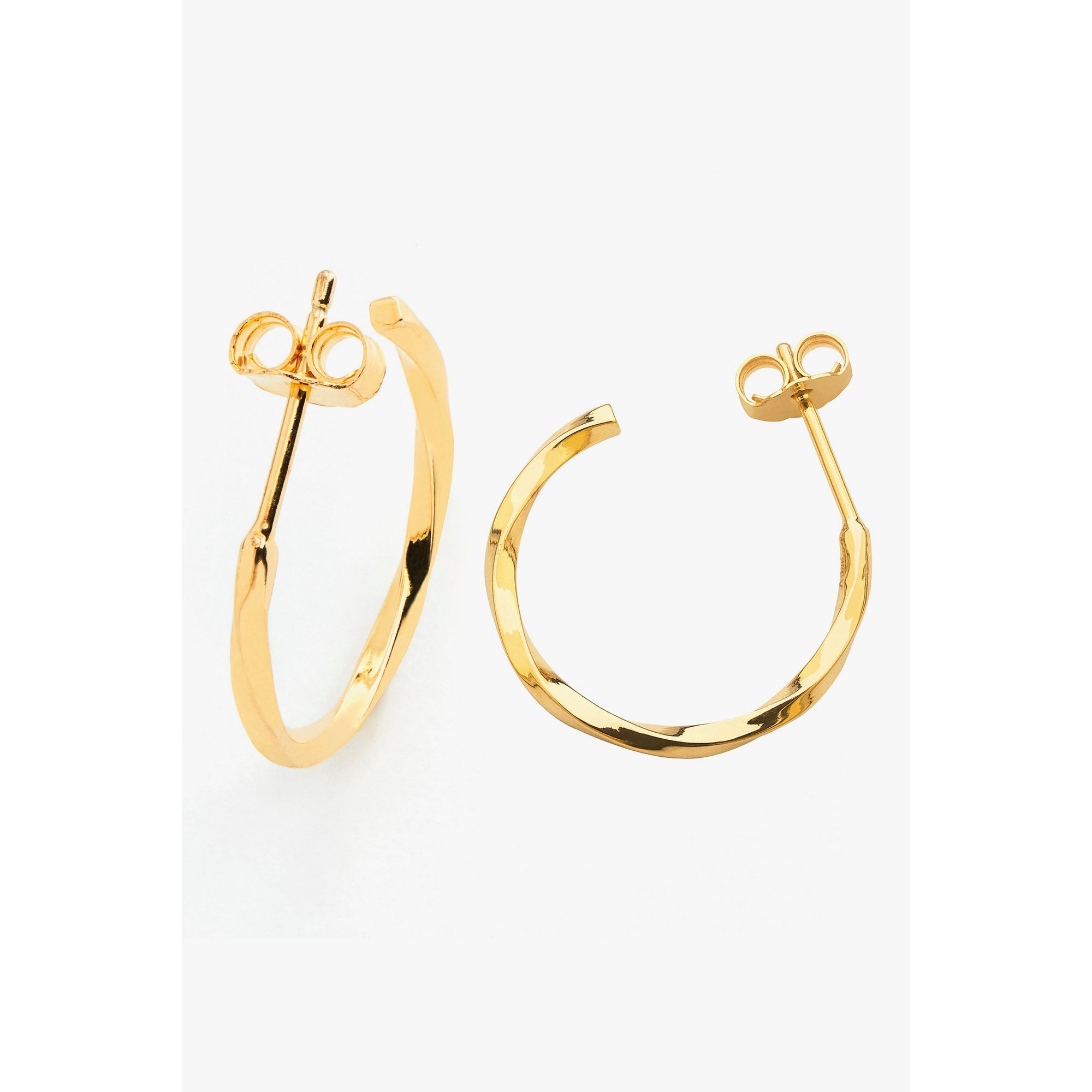 Image of 15mm Gold Plated Post Twisted Hoop Earrings