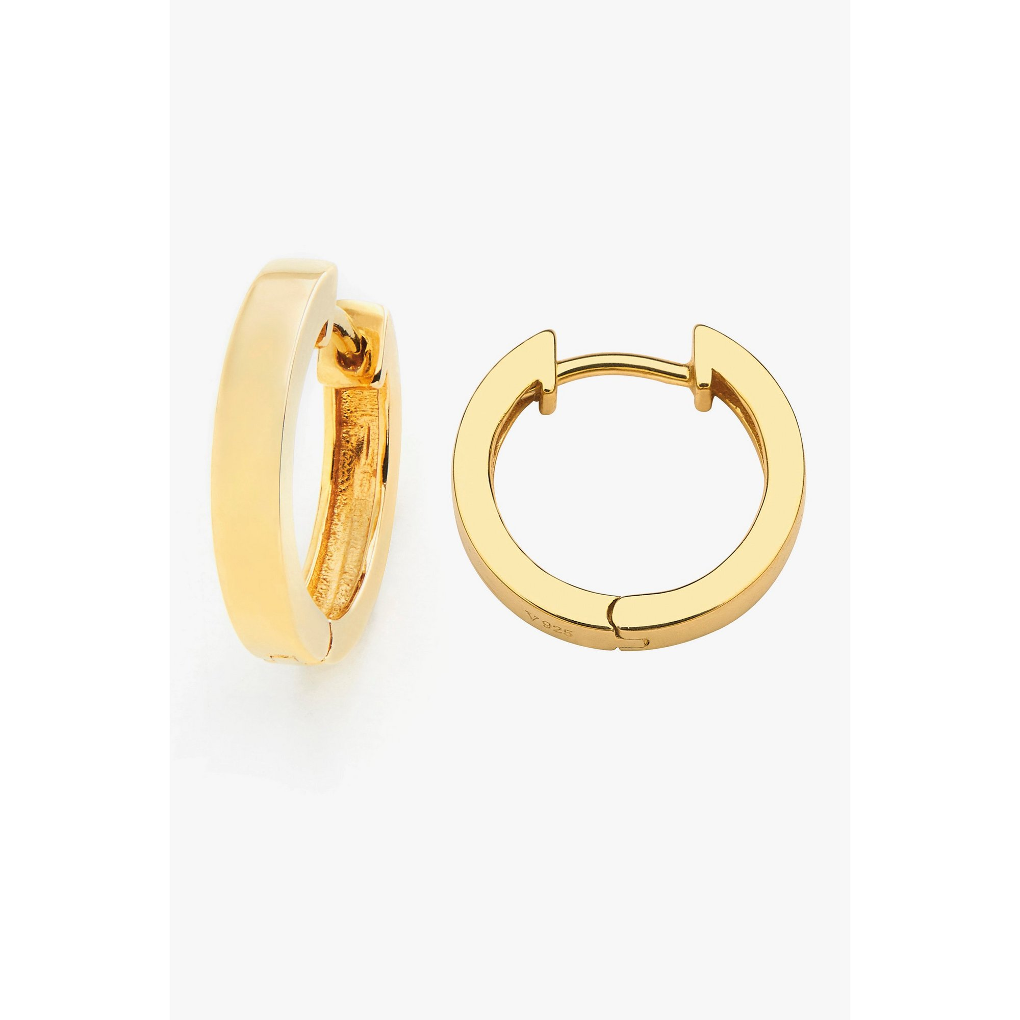 Image of Espree 11mm Gold Plated Plain Hinged Huggie Earrings