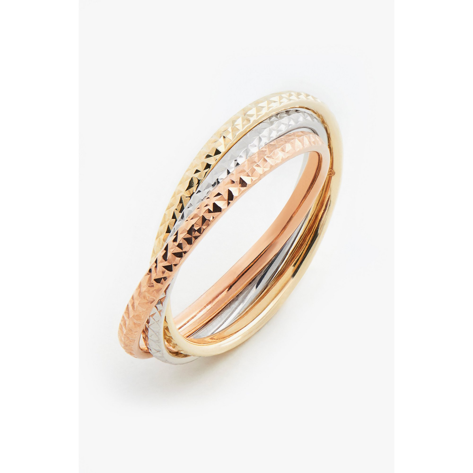 Image of 9ct 3 Colour Yellow Gold Diamond Cut Russian Band Ring