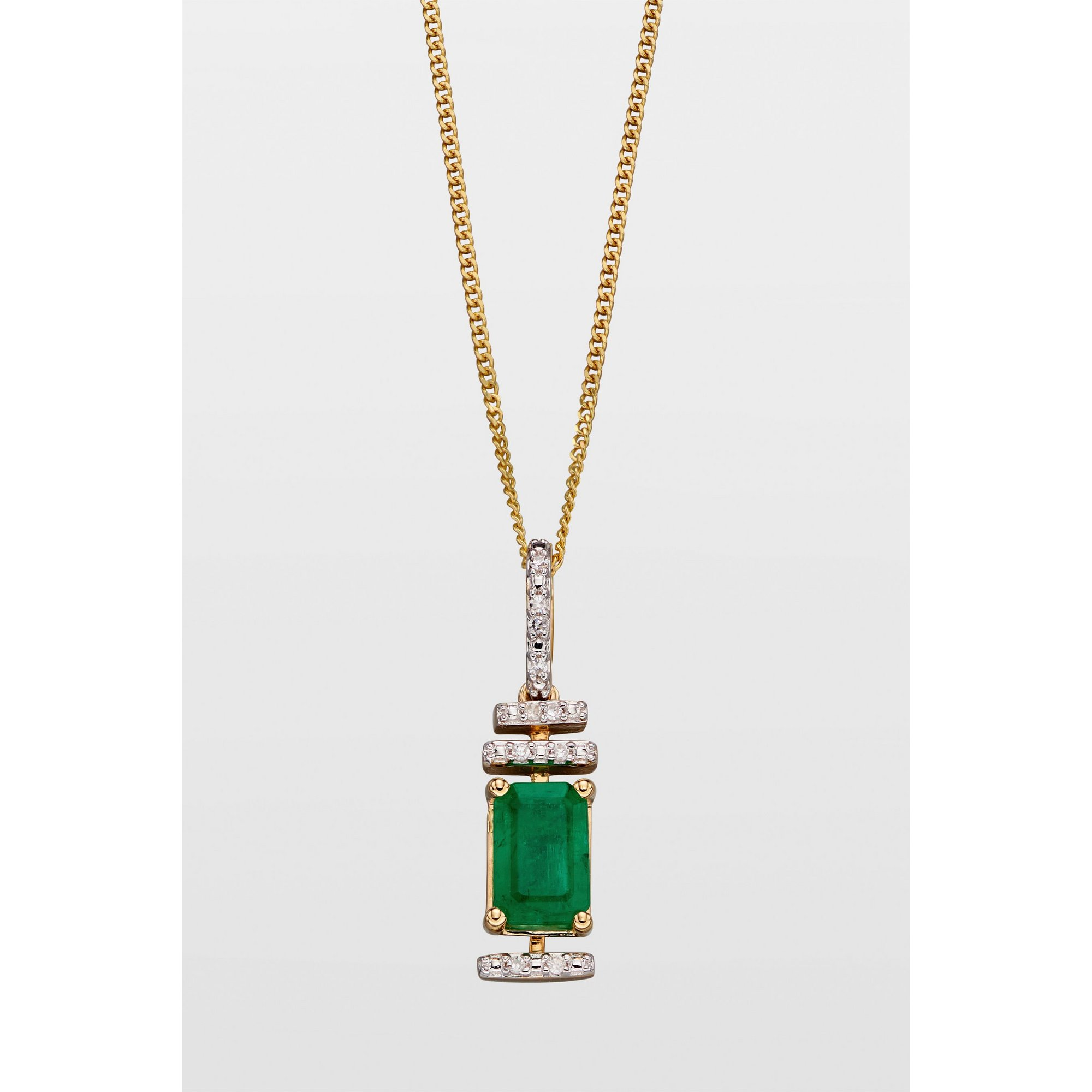 Image of 9ct Gold Emerald and Diamond Baguette Deco Style Pendant
