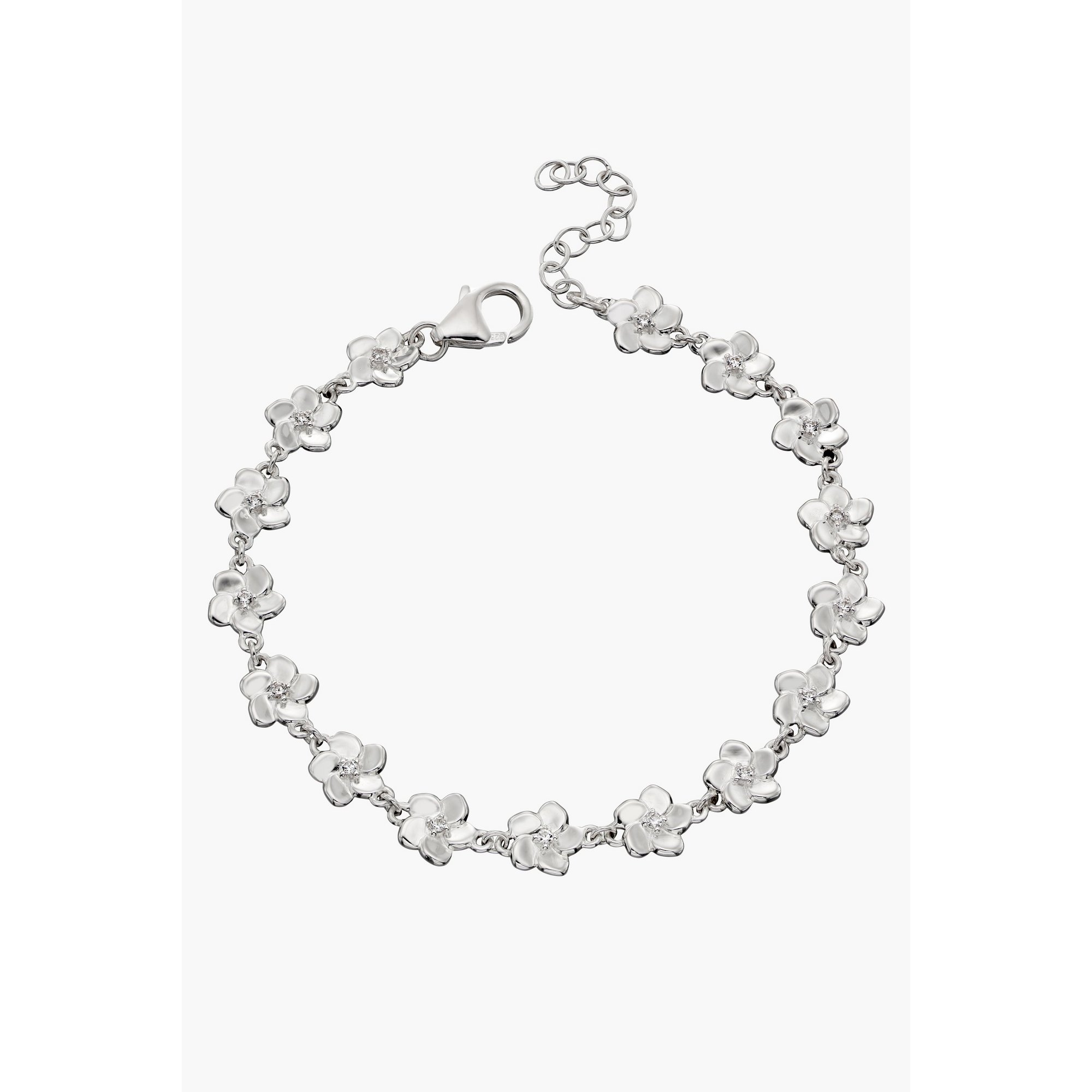 Image of 3D Cherry Blossom Bracelet with Cubic Zirconia Centre