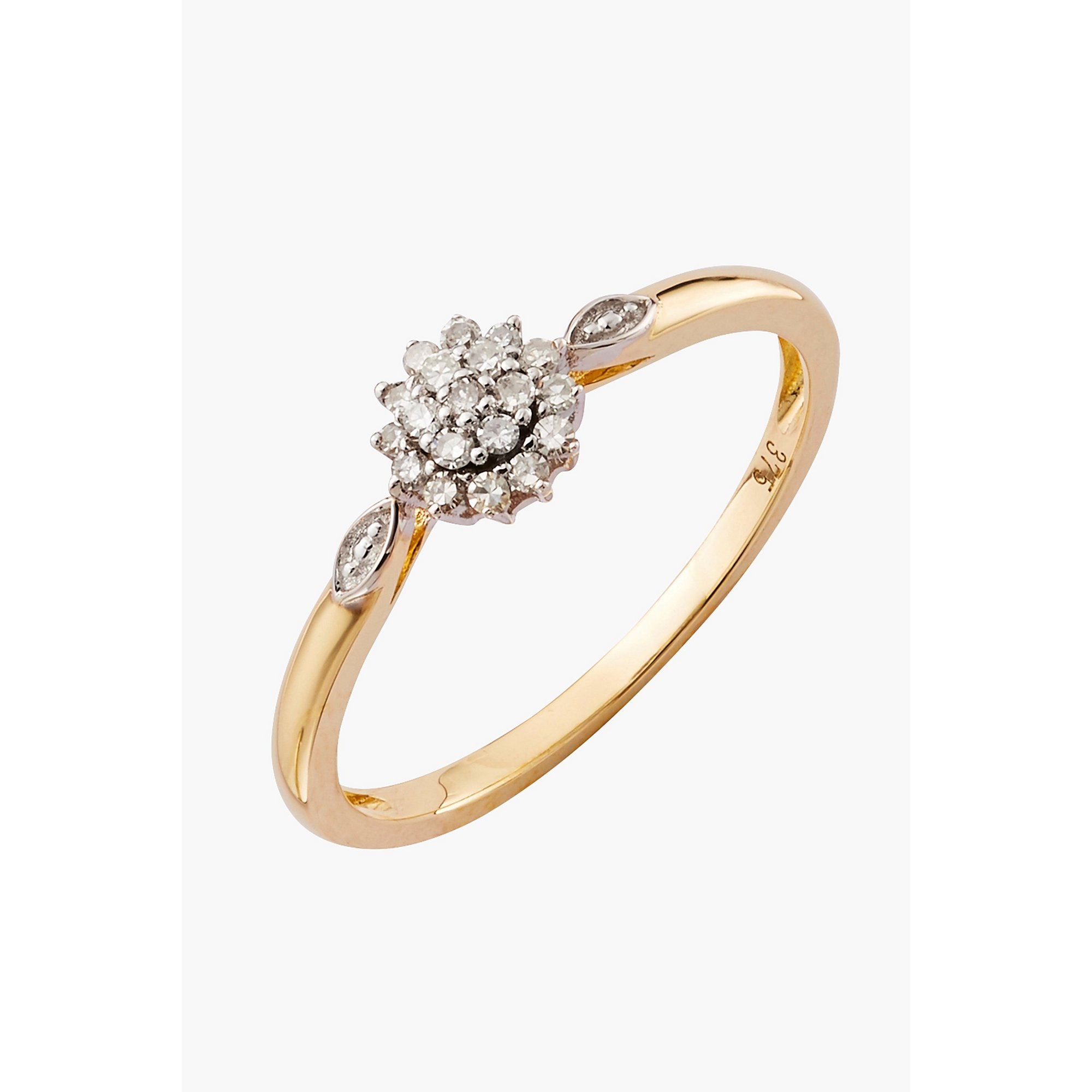 Image of 9ct Gold 0.11ct DiamondCluster Ring
