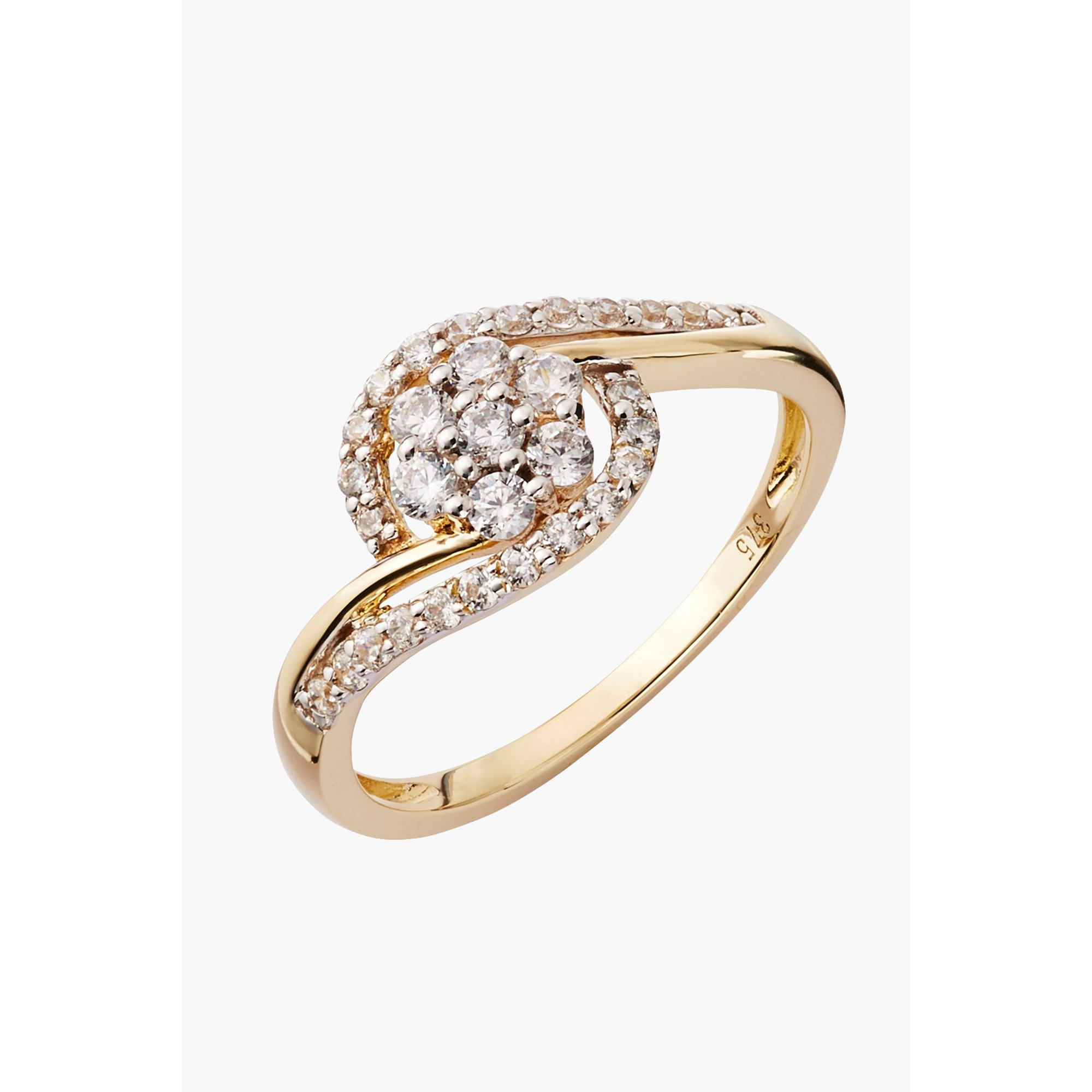 Image of 9ct Gold CZ Twist Ring