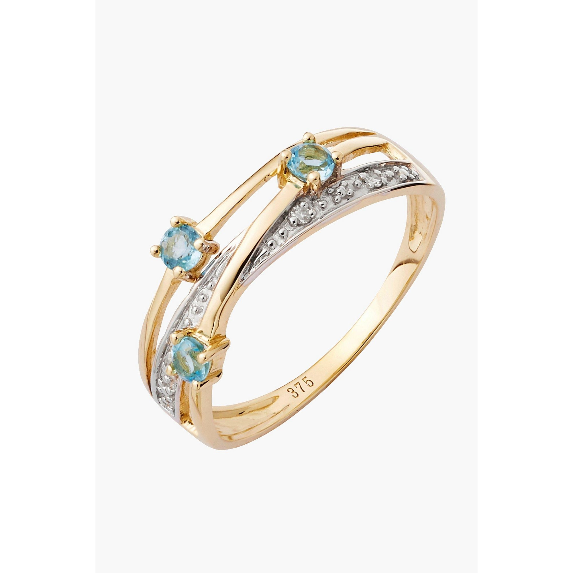 Image of 9ct Gold Blue Topaz and Diamond Dress Ring
