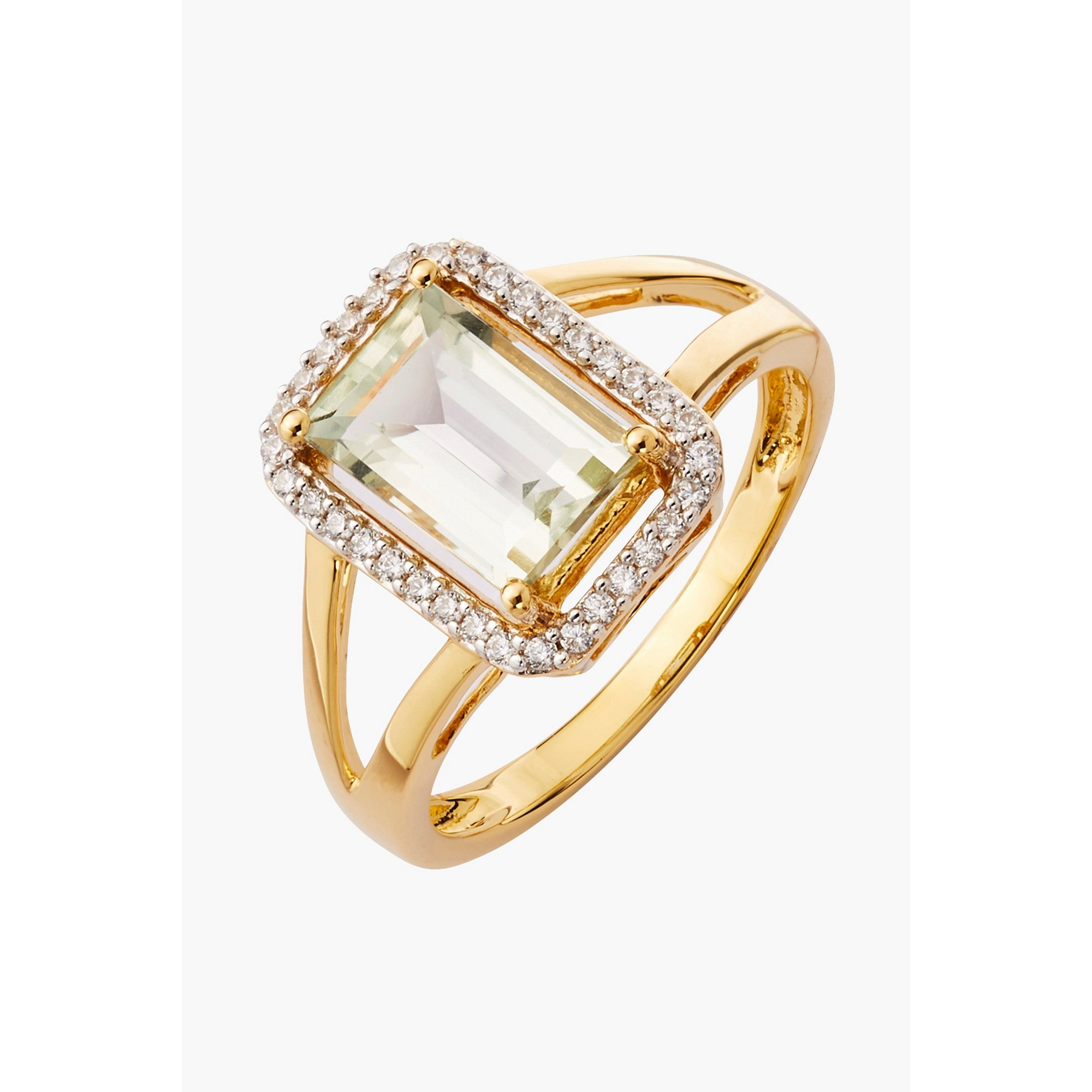 Image of 9ct Gold 2ct Green Amethyst and CZ Ring
