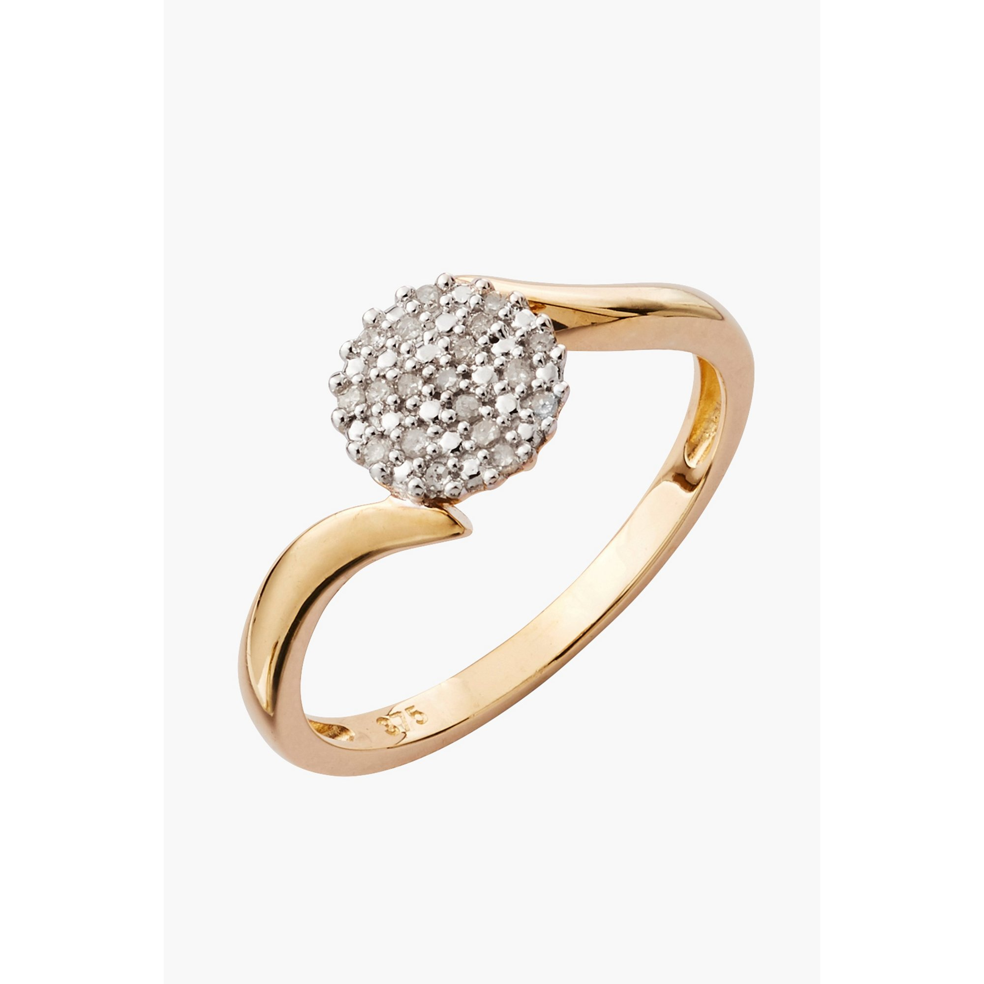 Image of 9ct Gold 0.10ct Diamond Cluster Ring
