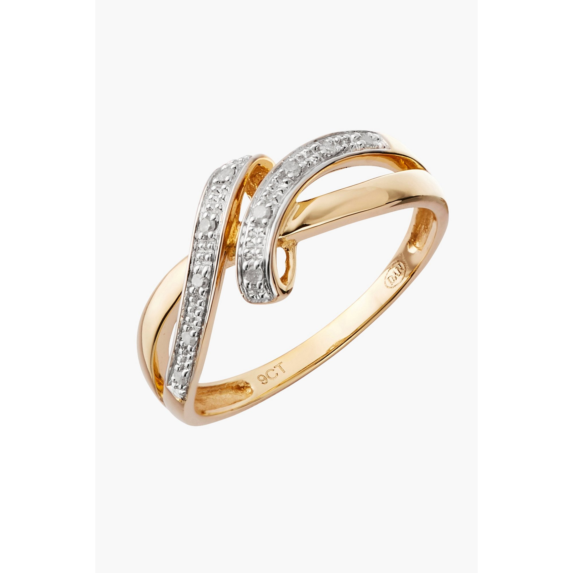 Image of 9ct Gold 0.05ct Diamond Wrap Ring