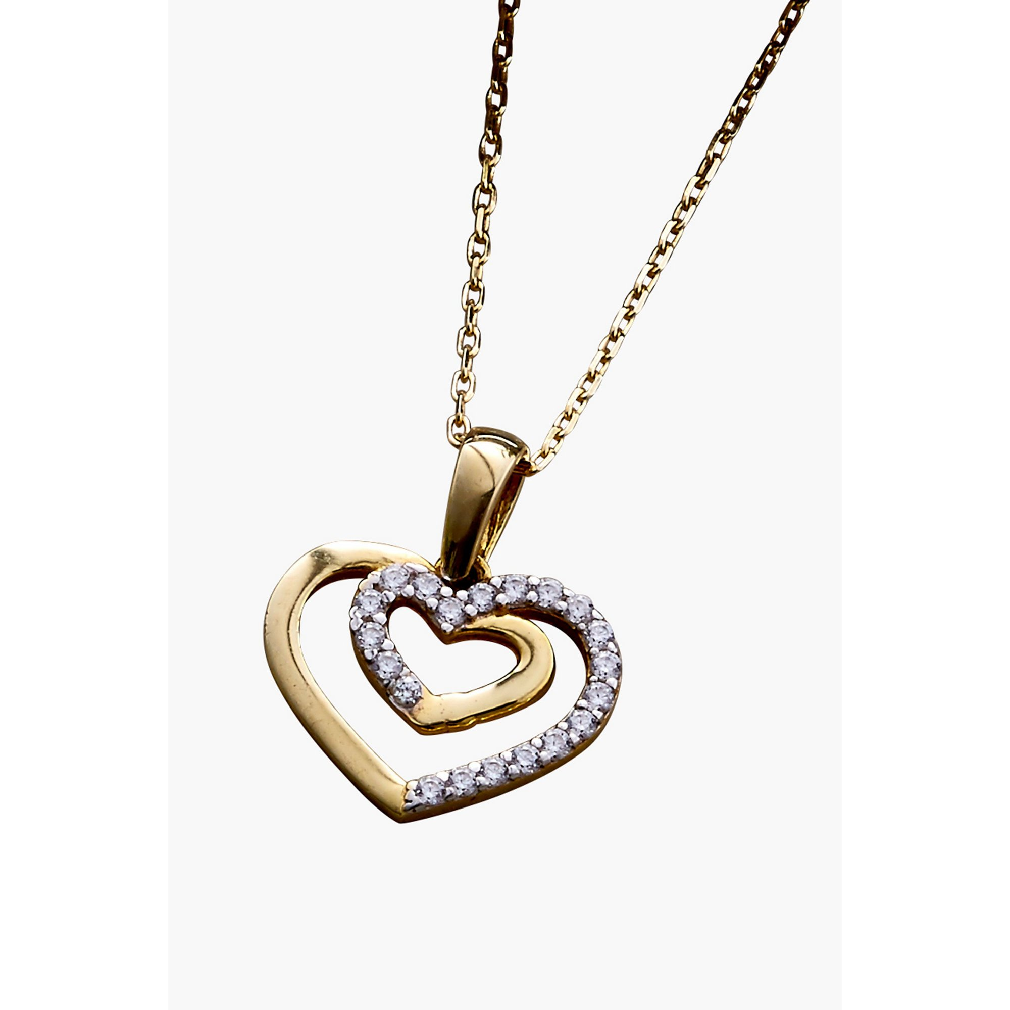 Image of 9ct Gold CZ Heart Pendant
