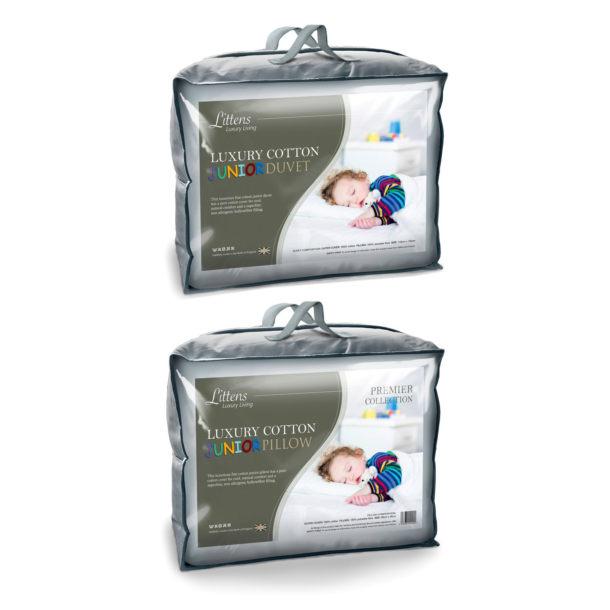 Image of 4.5 Tog Luxury Cotton Junior Cot Bed Duvet and Pillow Bundle