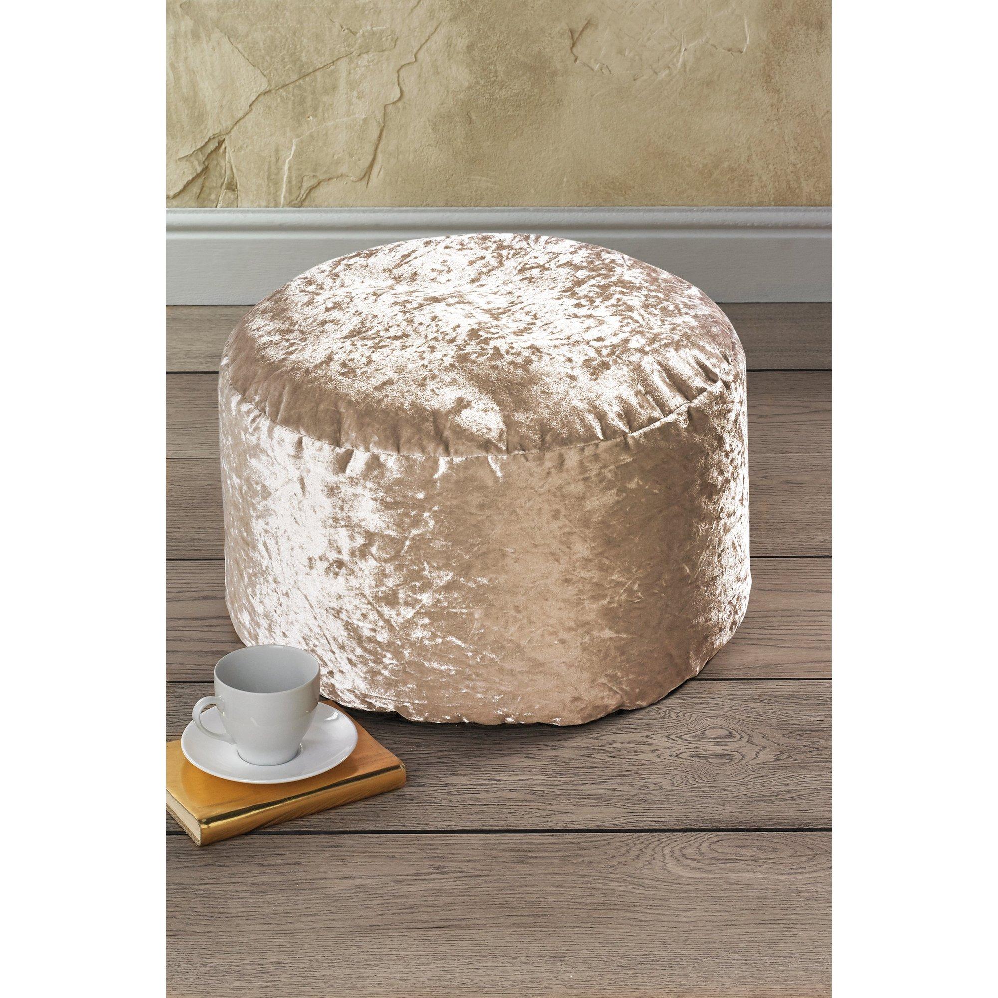 Image of Crushed Velvet Bean Bag Pouffe