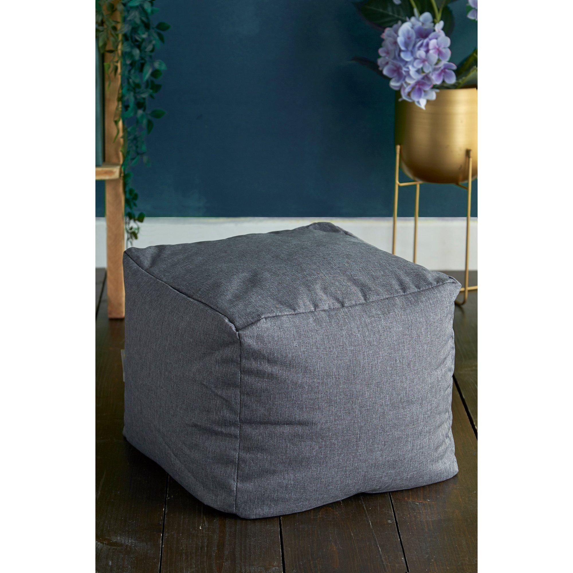 Image of Grey Square Linen Bean Bag Pouffe