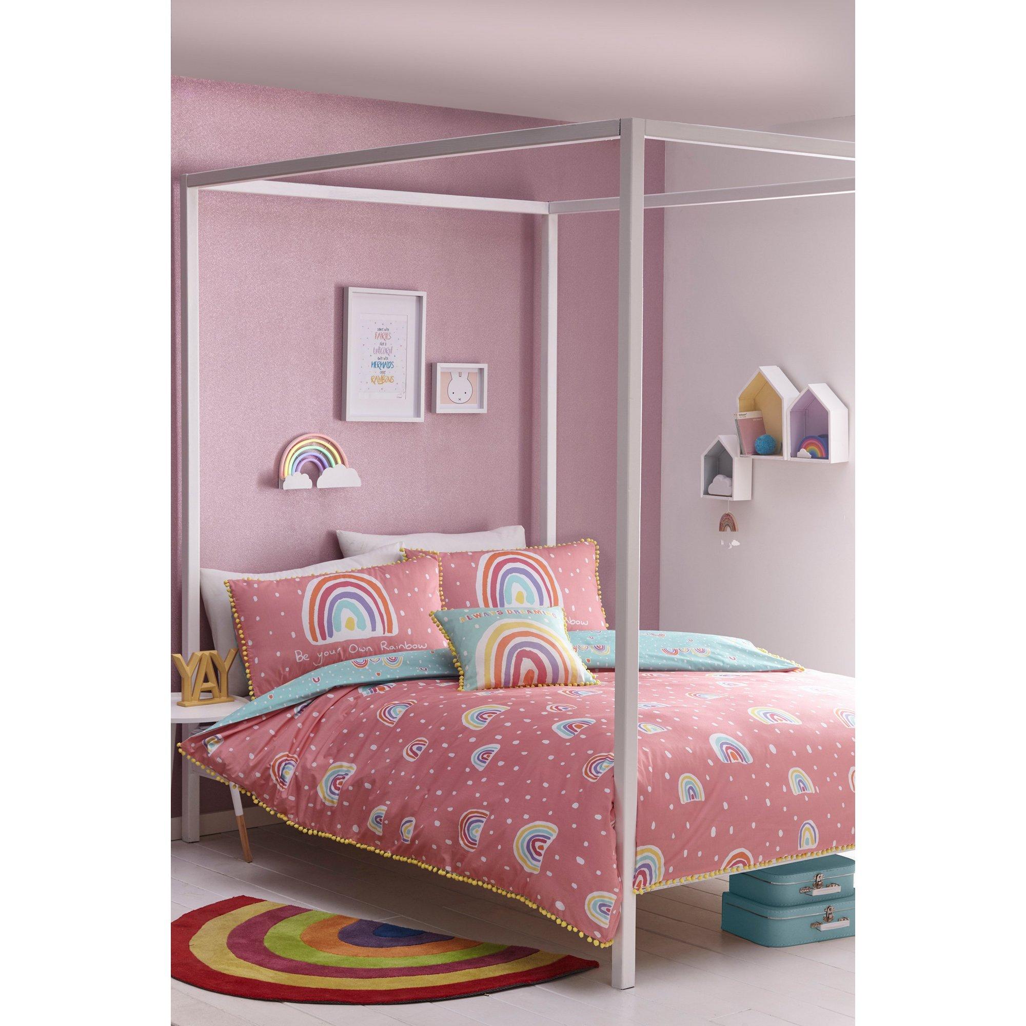 Image of Rainbow Pom Reversible Single Duvet Set