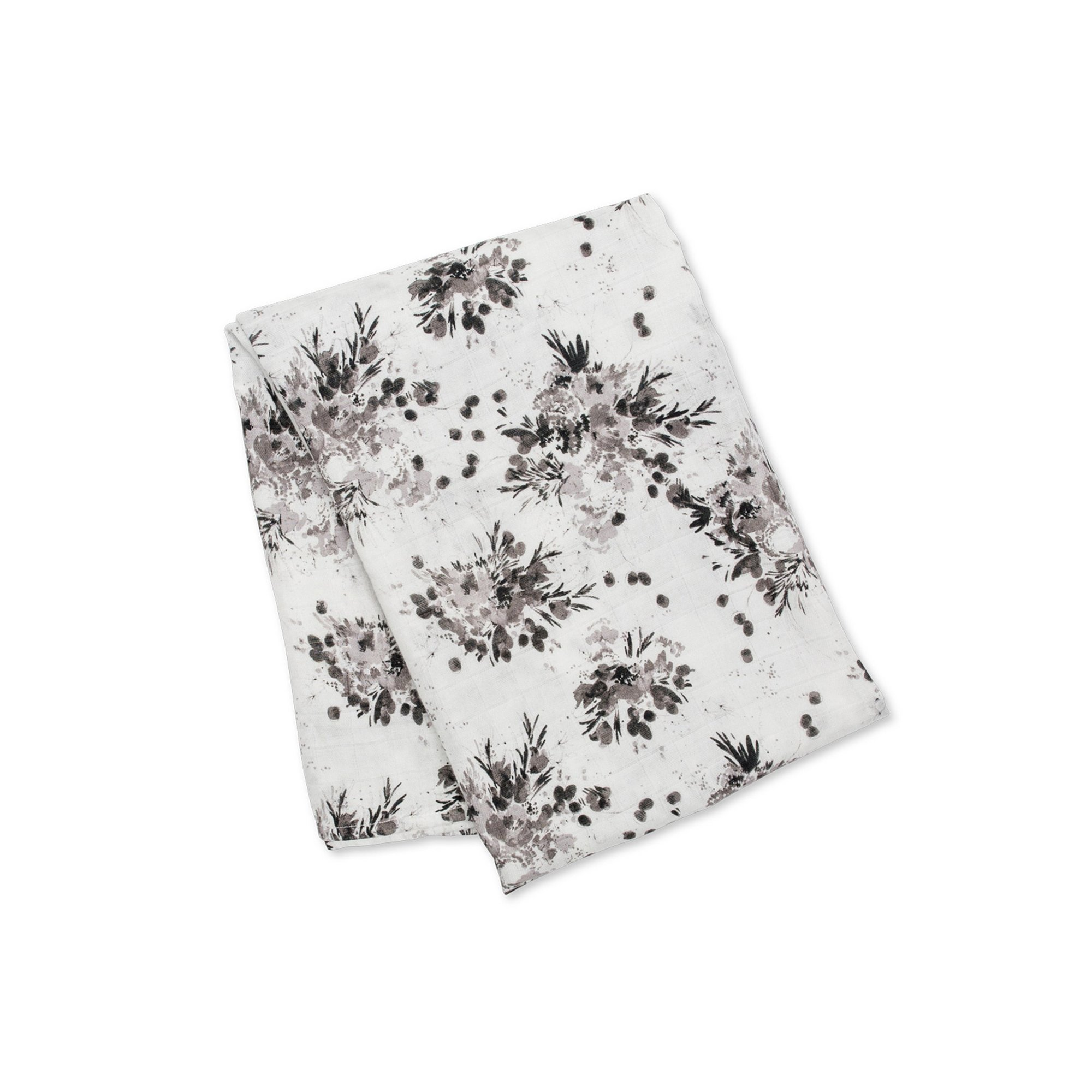 Image of Lulujo Baby Bamboo Muslin Swaddle-Black Floral
