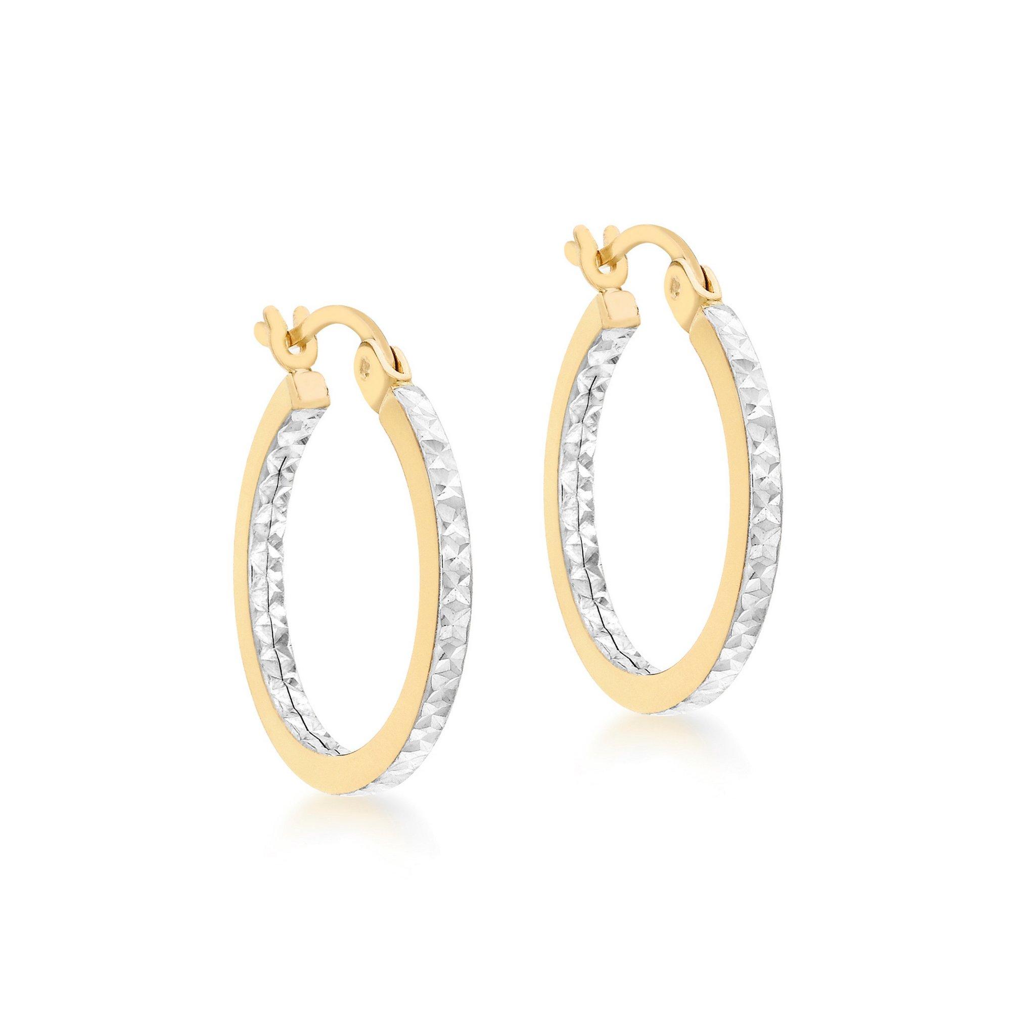 Image of 2-Tone 9ct Gold 18mm Diamond Cut Creole Earrings