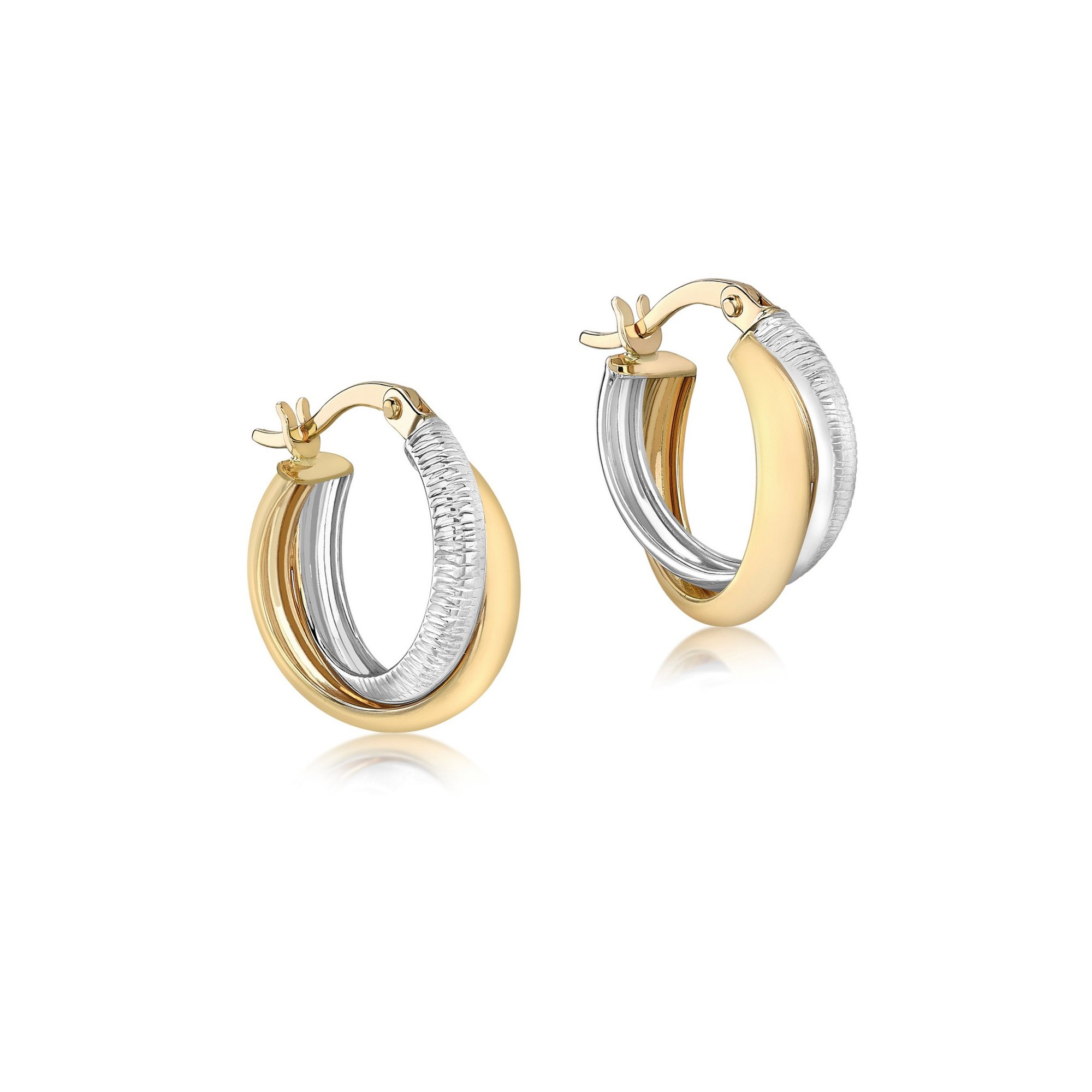 Image of 9ct 2-Tone Gold Diamond Cut Crossover 15mm Creole Earrings