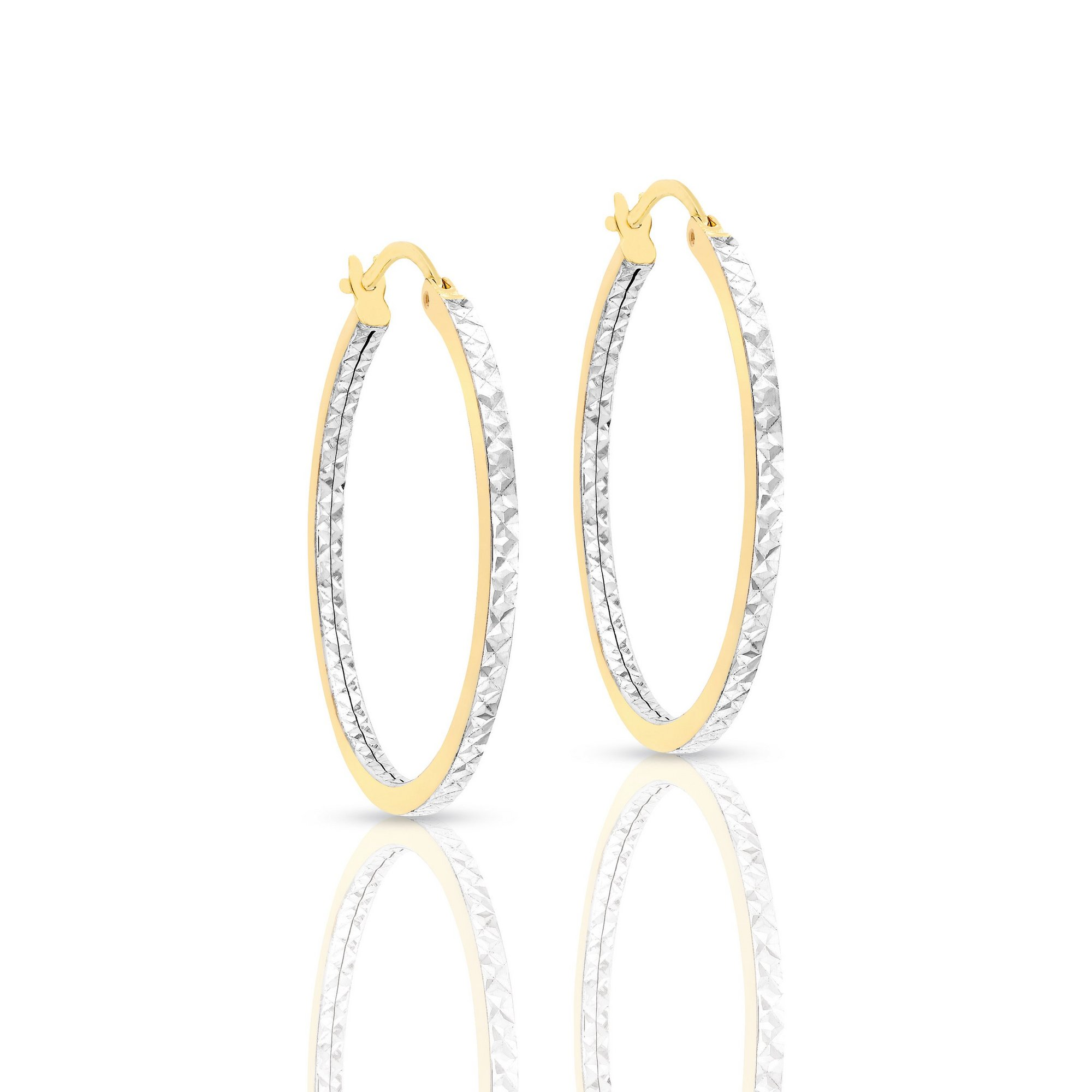 Image of 9ct 2-Tone Gold 28mm Diamond Cut Creole Earrings