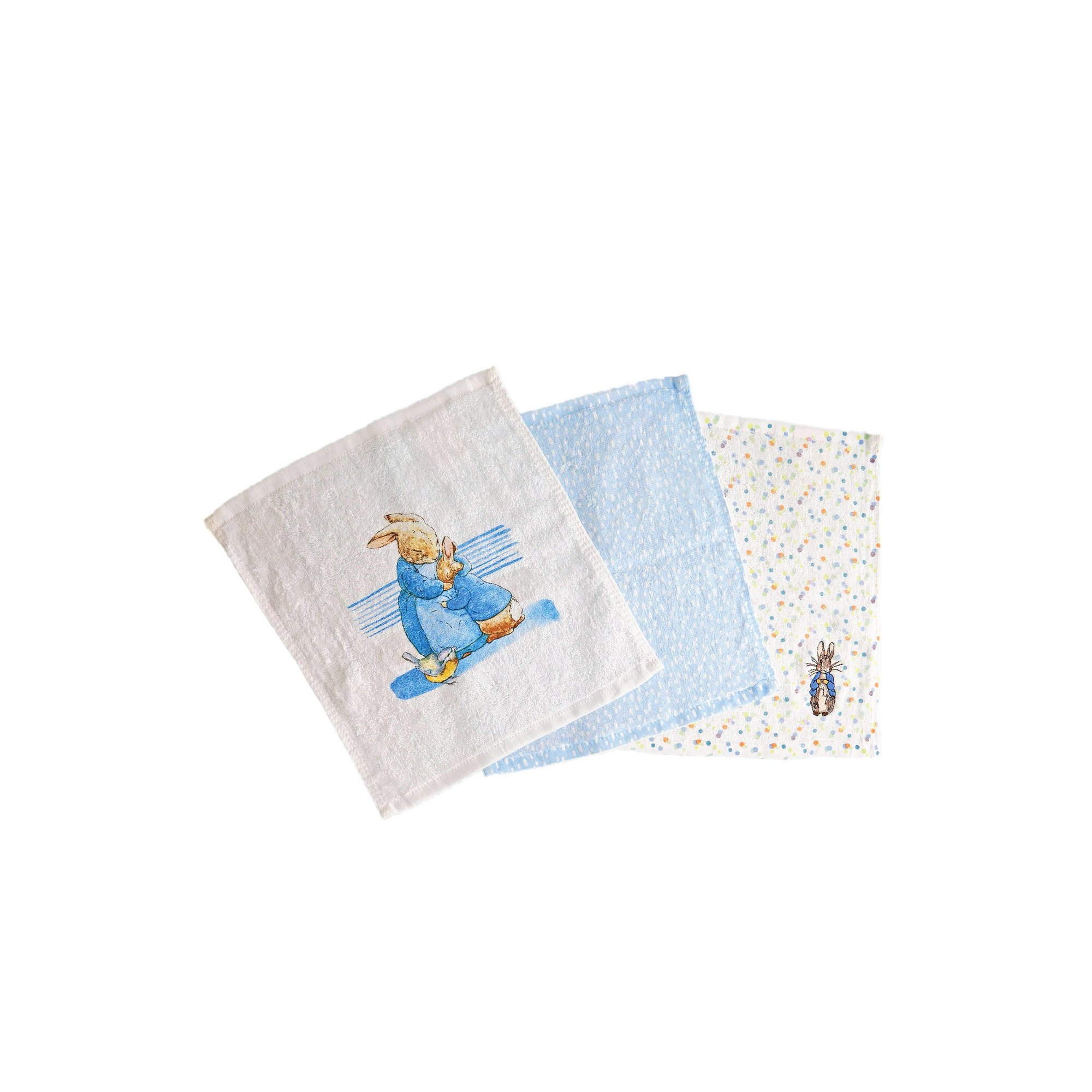 Image of Pack of 3 Peter Rabbit Collection Baby Face Cloths