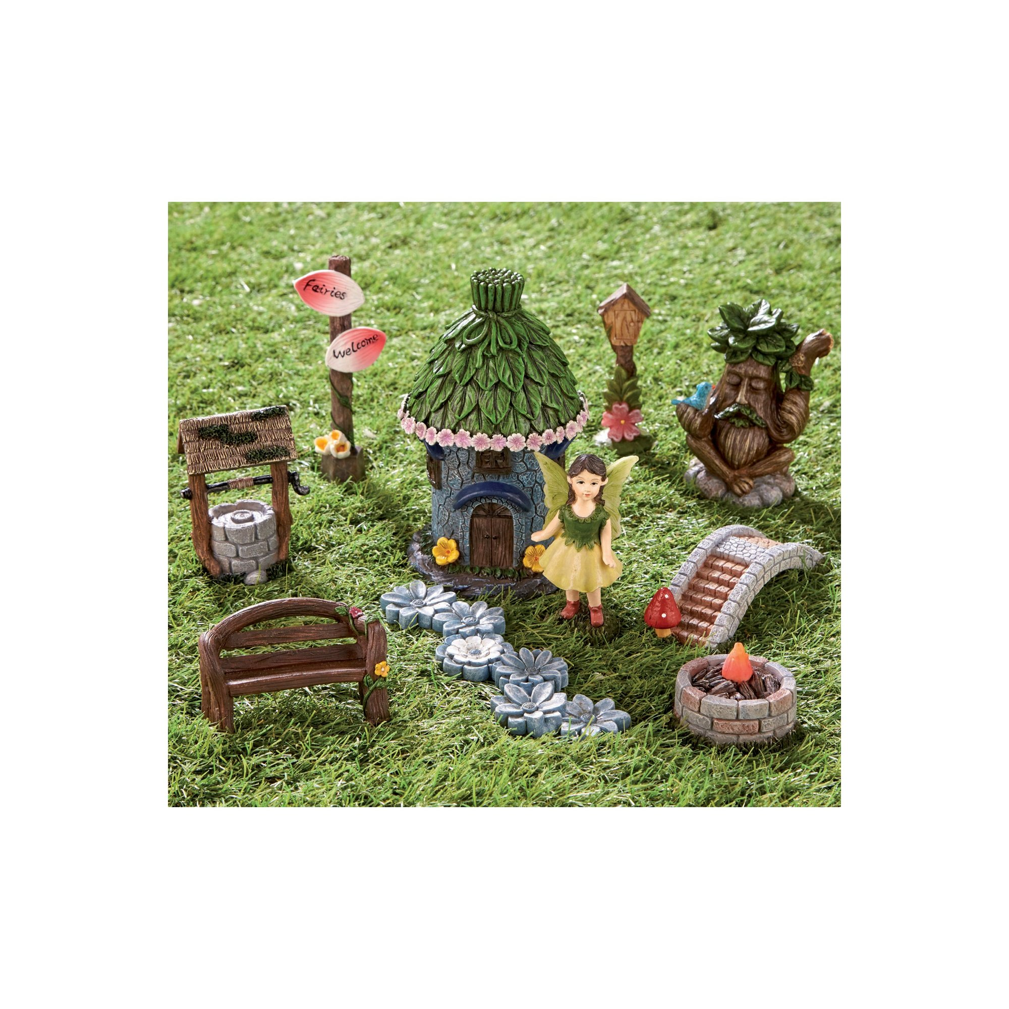 Image of 10-Piece Solar Fairy House and Accessory Set
