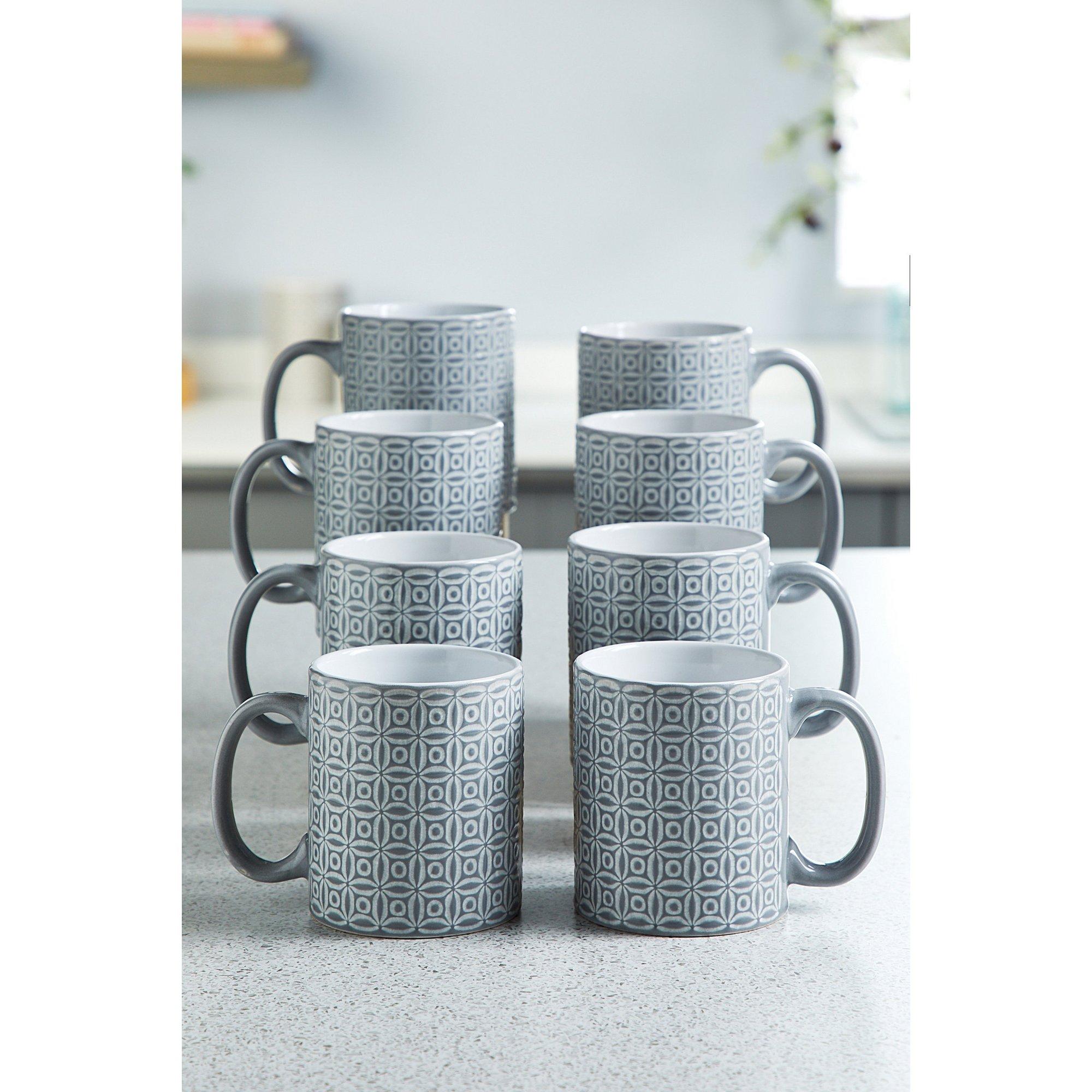 Image of 8-Piece Grey Geo Mug Set