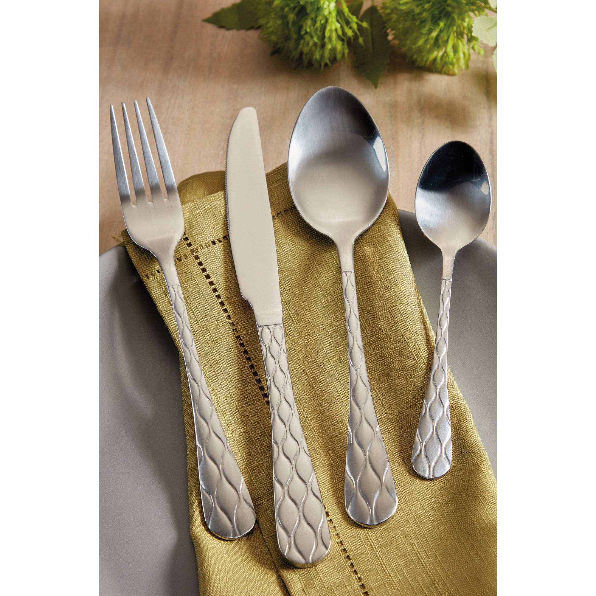 Image of 16-Piece Quilted Stainless Steel Cutlery Set