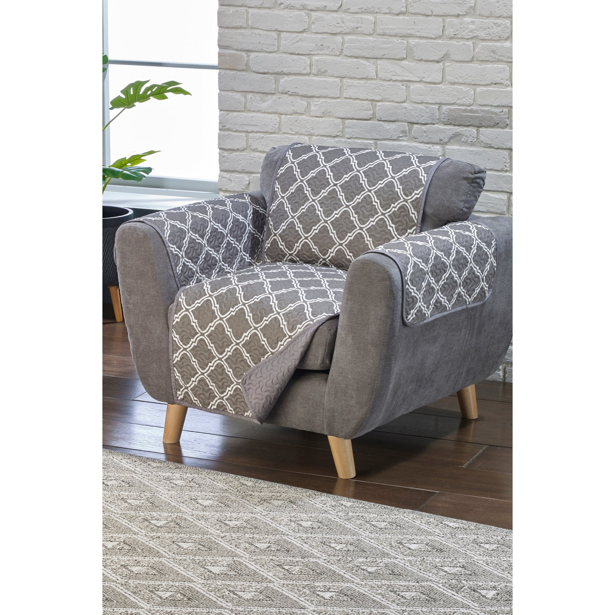 Image of Reversible Quilted Geo Print Furniture Protector