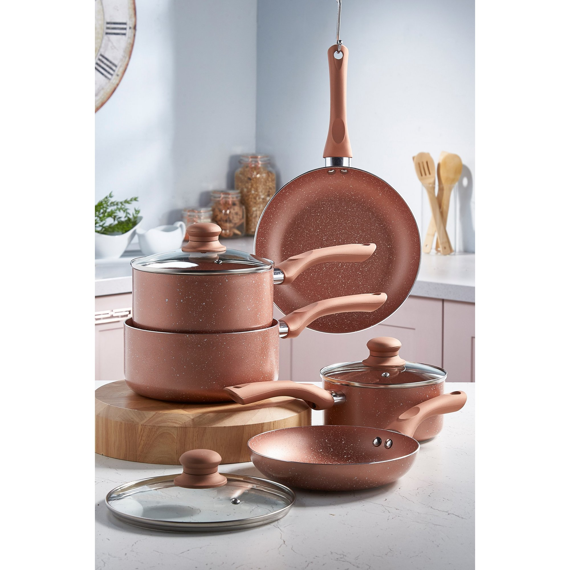 Image of 5-Piece Non-Stick Marble-Effect Pan Set
