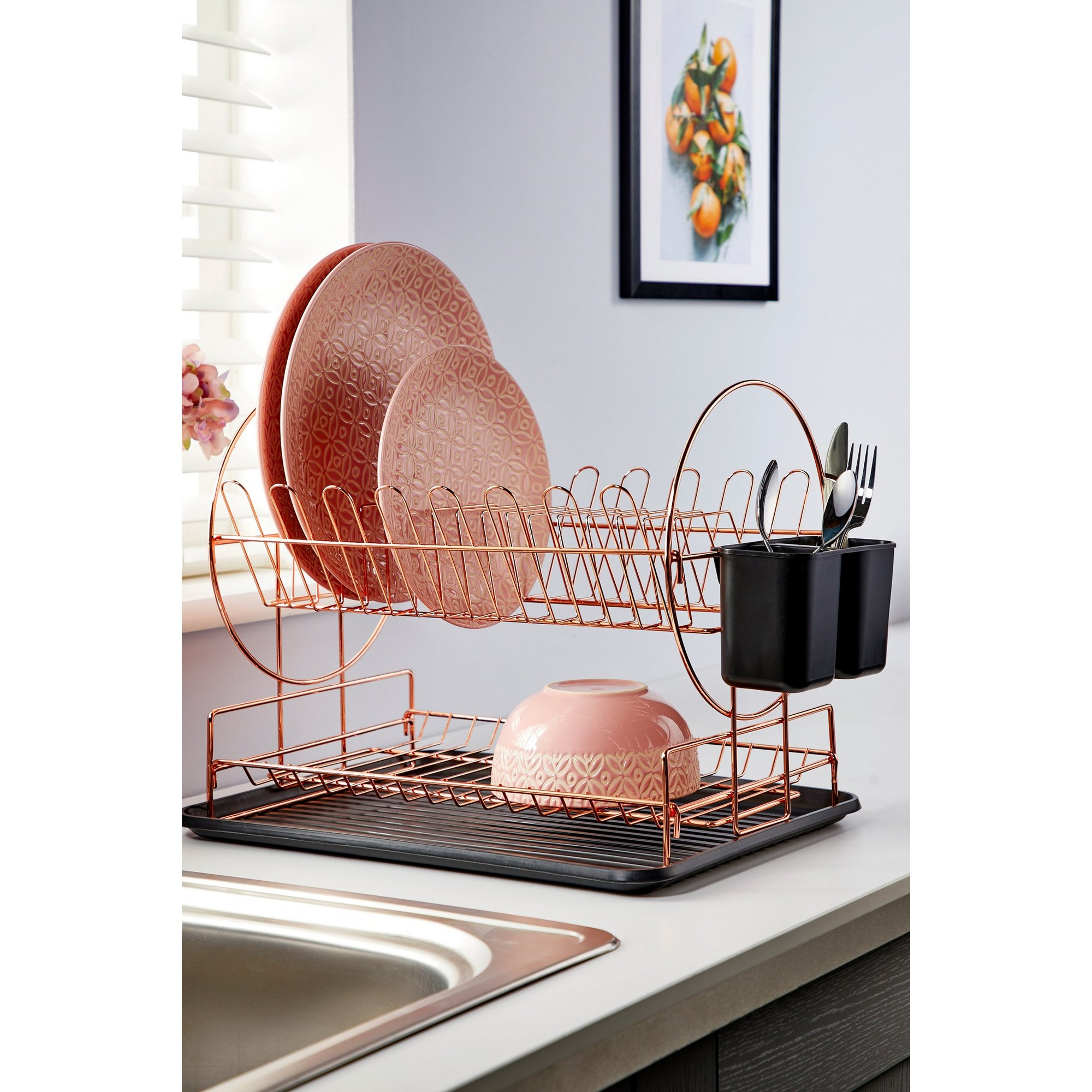 Image of 2-Tier Rose Gold Dish Drainer