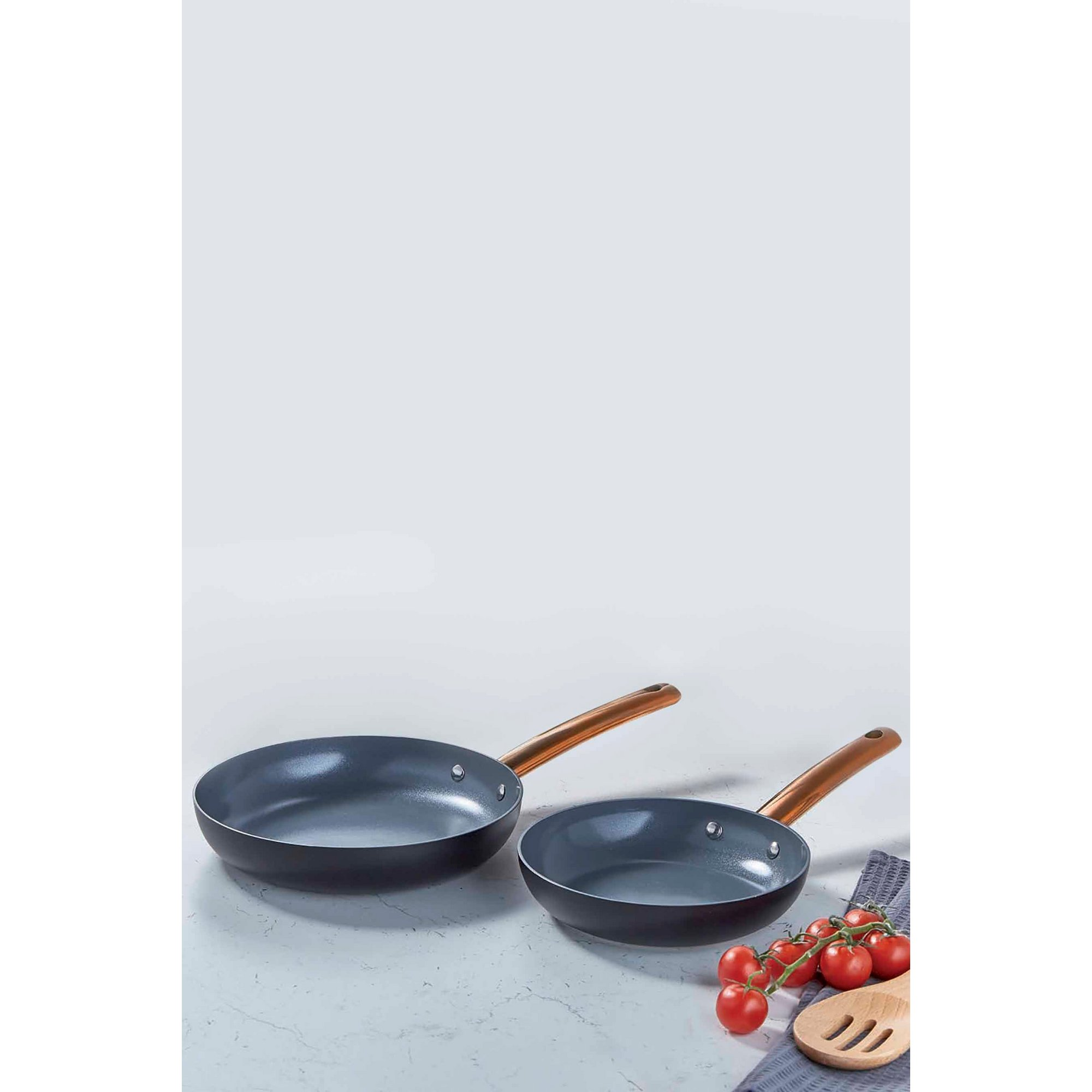 Image of 2-Piece Matt Black and Gold Non-Stick Fry Pan Set
