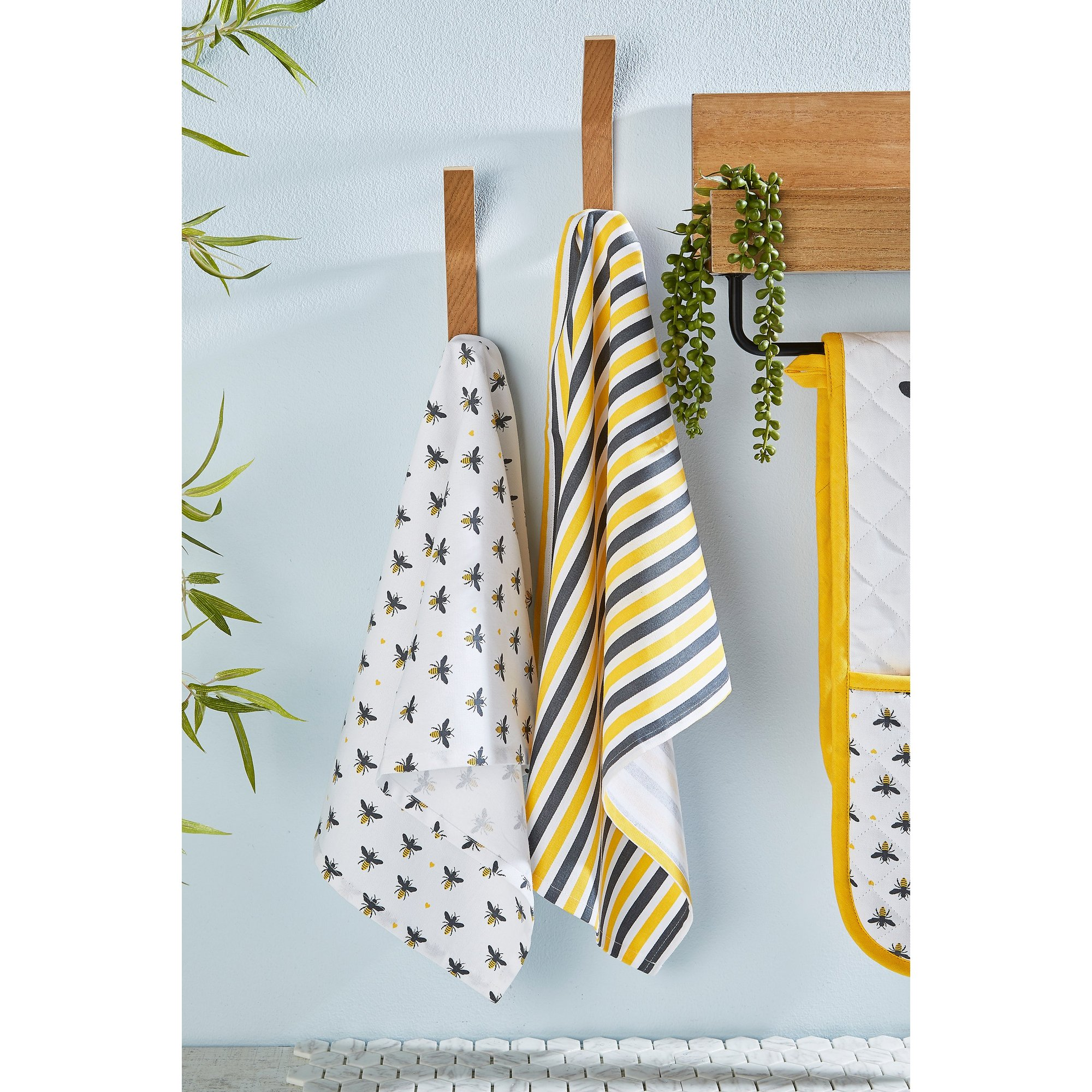 Image of Set of 2 Bee Tea Towels