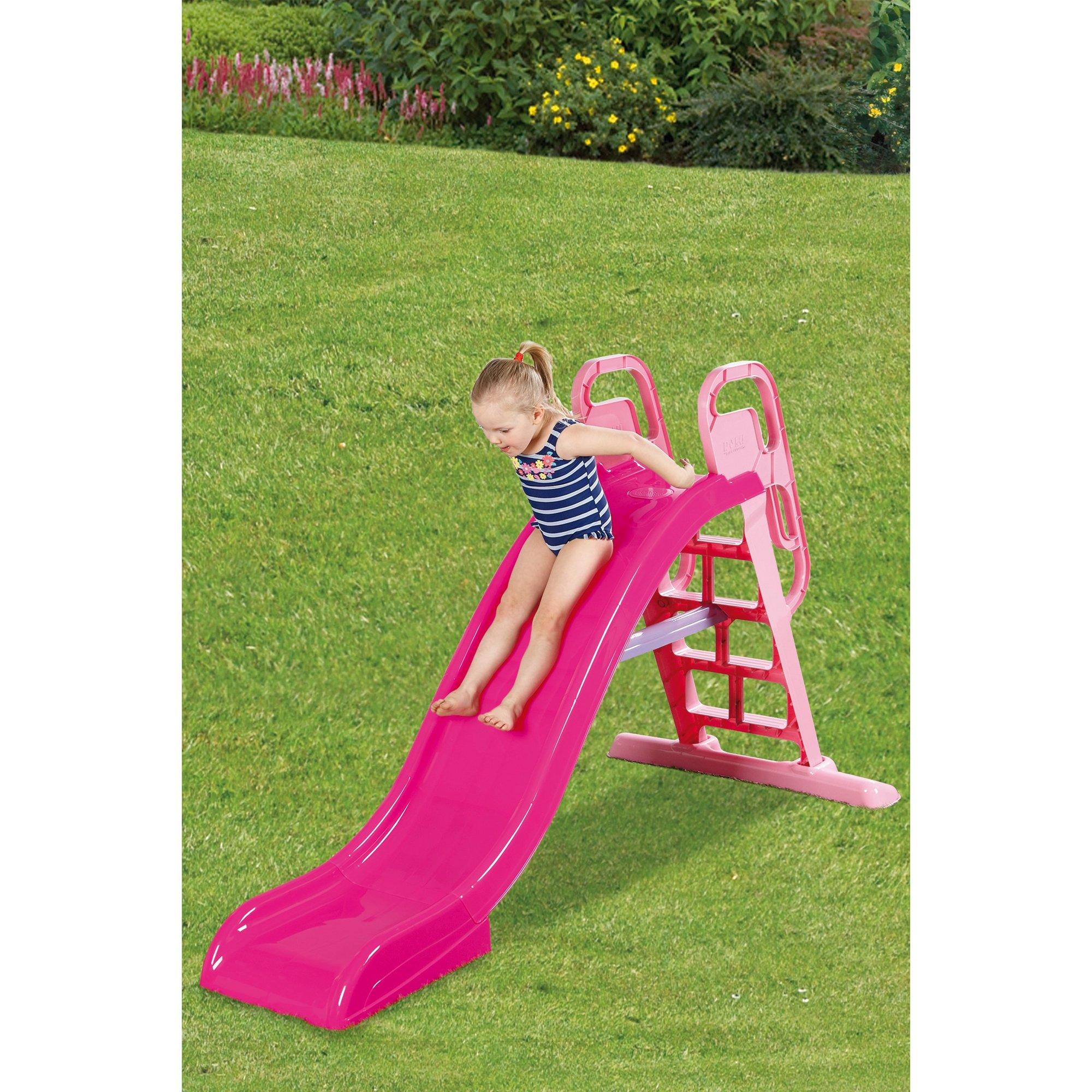 Image of 2-In-1 6.5ft Pink Wavy Slide with Water Sprinkler