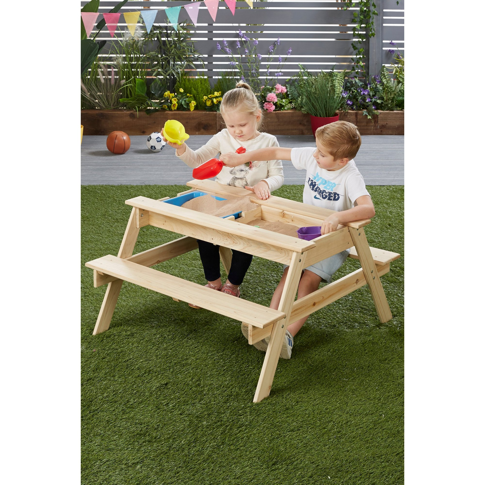 Image of 3-In-1 Wooden Picnic Table
