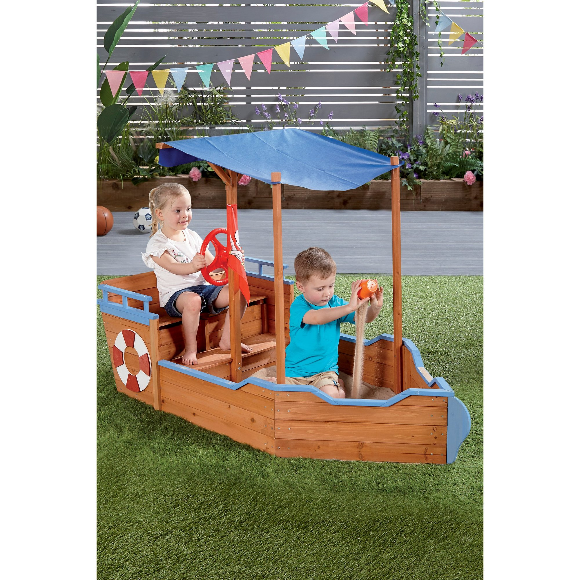 Image of Wooden Pirate Ship Sandpit and Canopy
