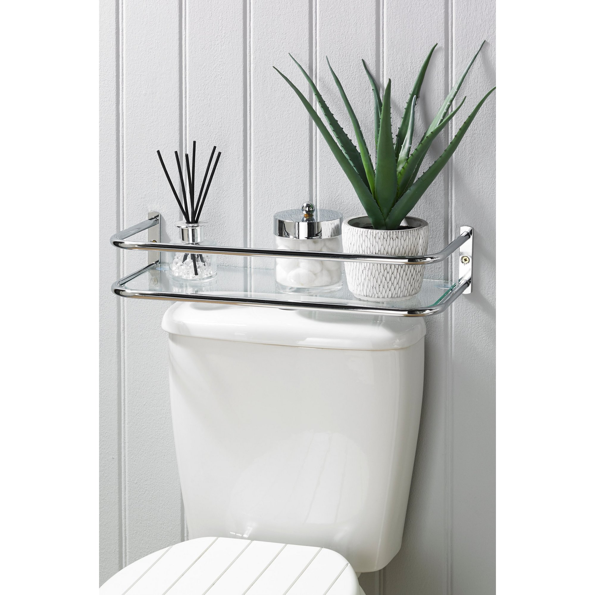 Image of Lloyd Pascal Chrome Glass Over-Cistern Tidy