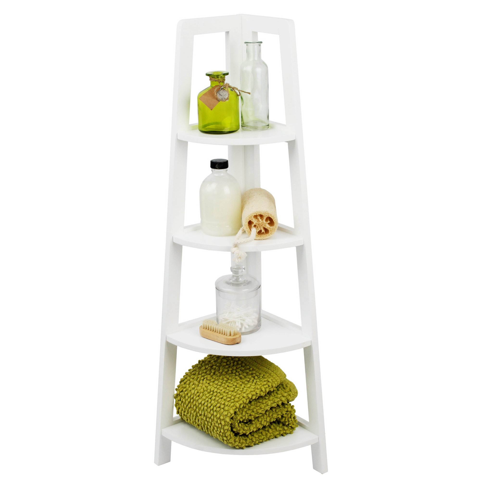 Image of Lloyd Pascal White Corner 4 Tier Shelving Stand