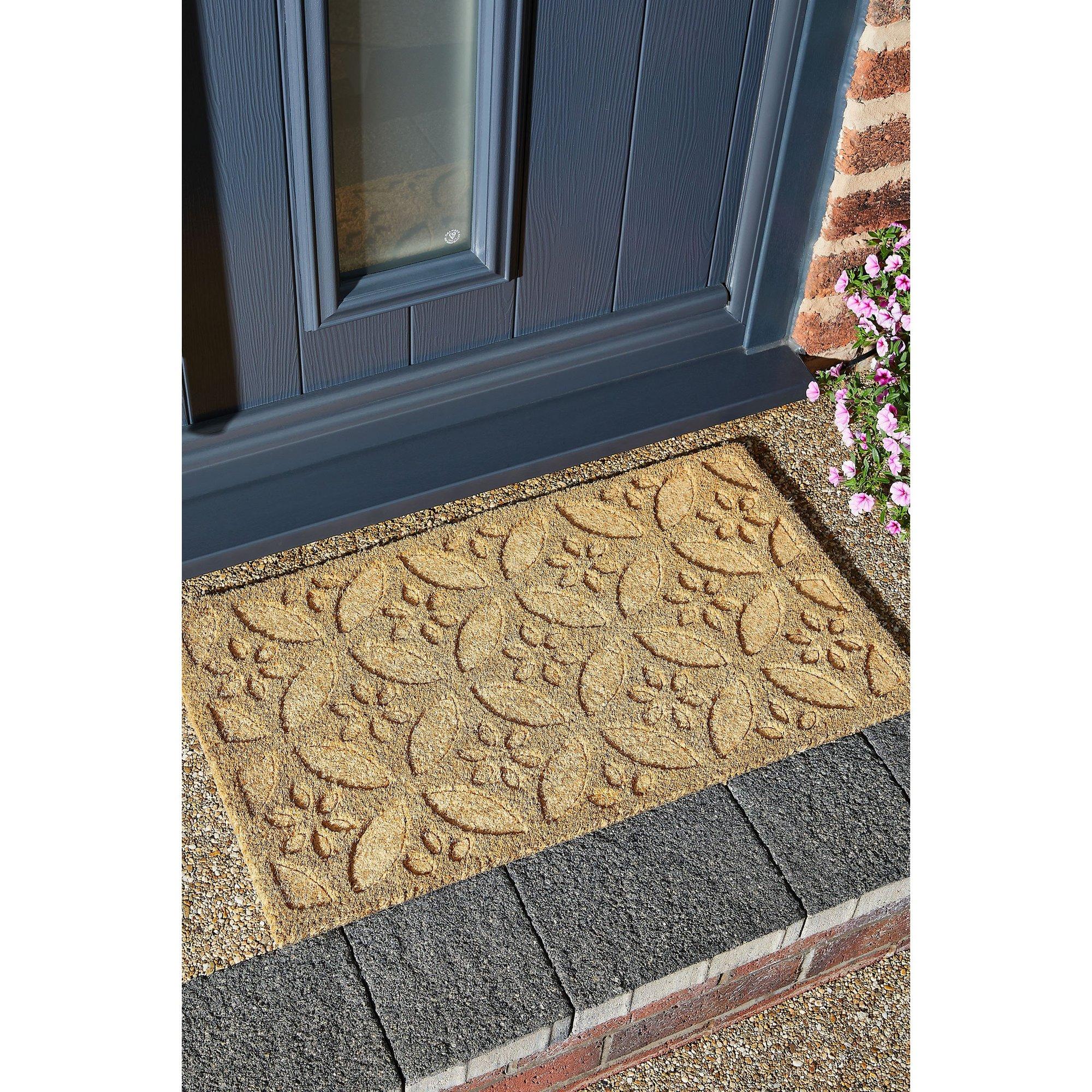 Image of Astley Geo Flower Embossed Coir Mat