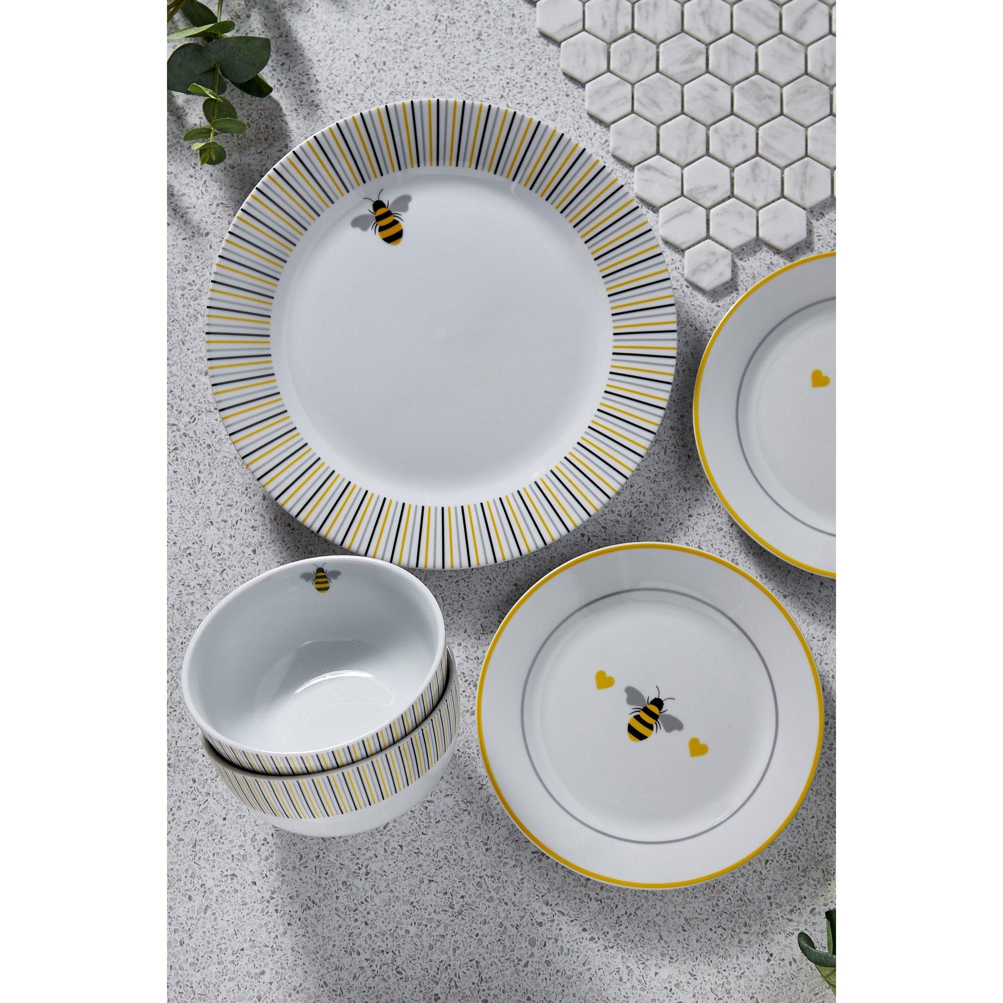 Image of 12 Piece Porcelain Bee Dinner Set
