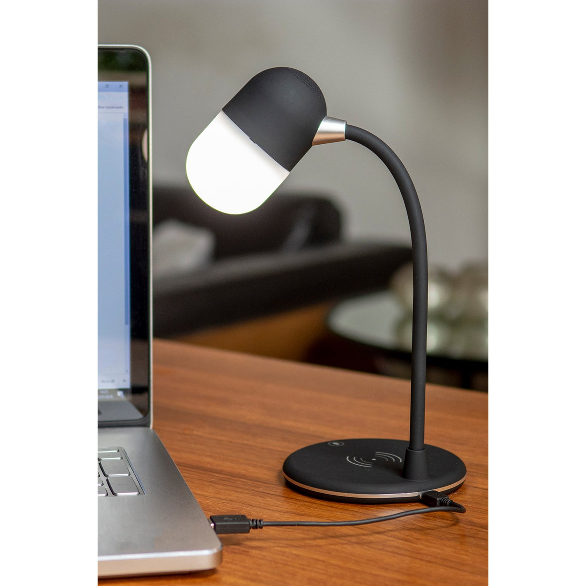 Image of Groov-e Apollo LED Lamp with Wireless Charging Pad and Bluetooth ...