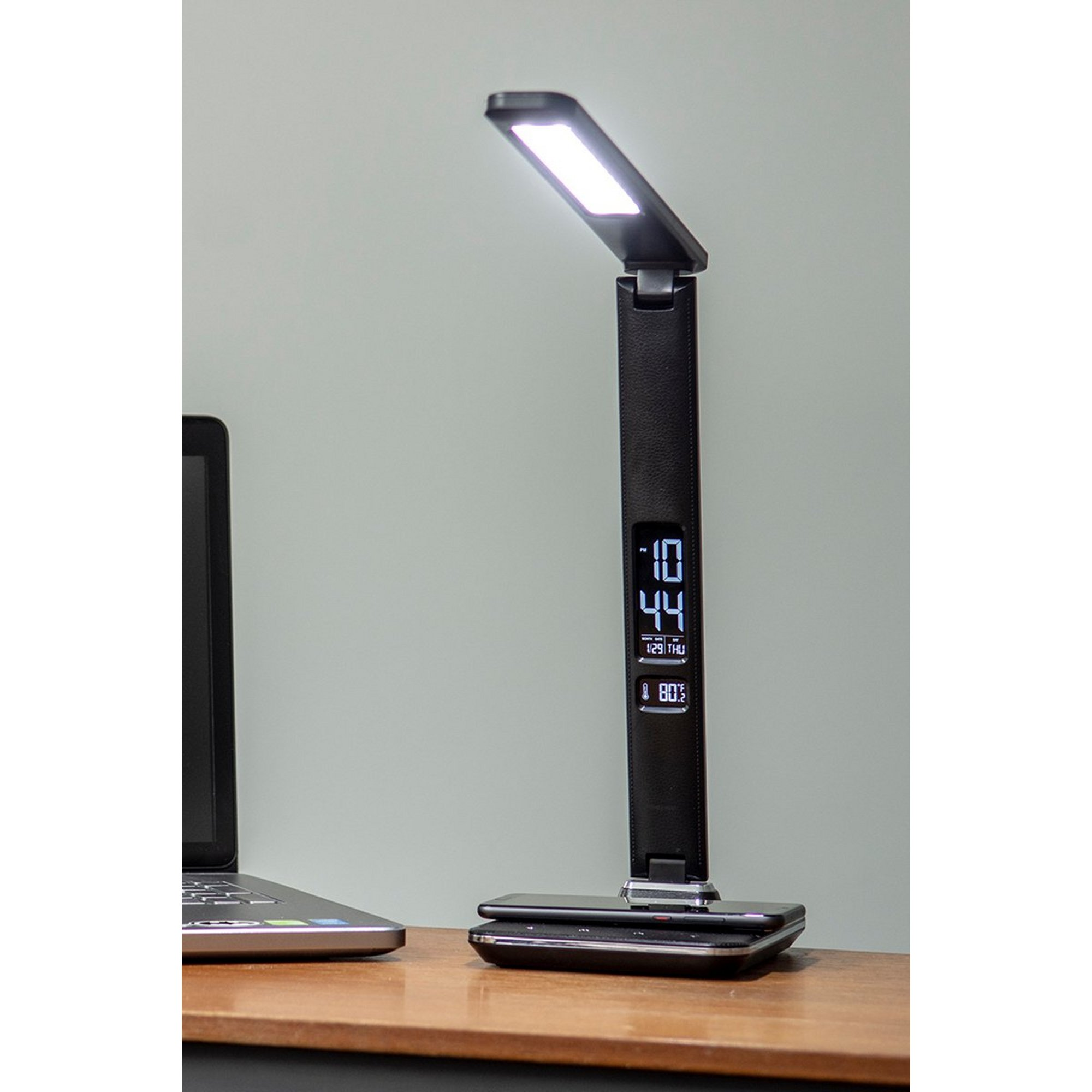 Image of Groov-e Ares Desk LED Lamp with Wireless Charging Pad and Clock