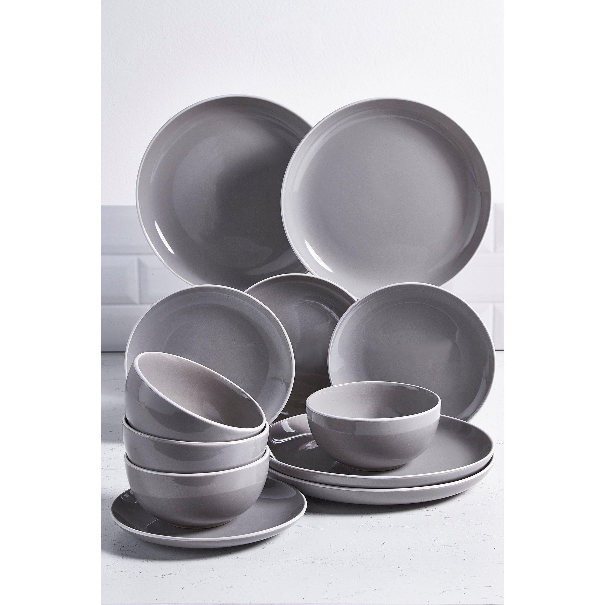 Image of 12 Piece Grey Halo Stoneware Dinner Set