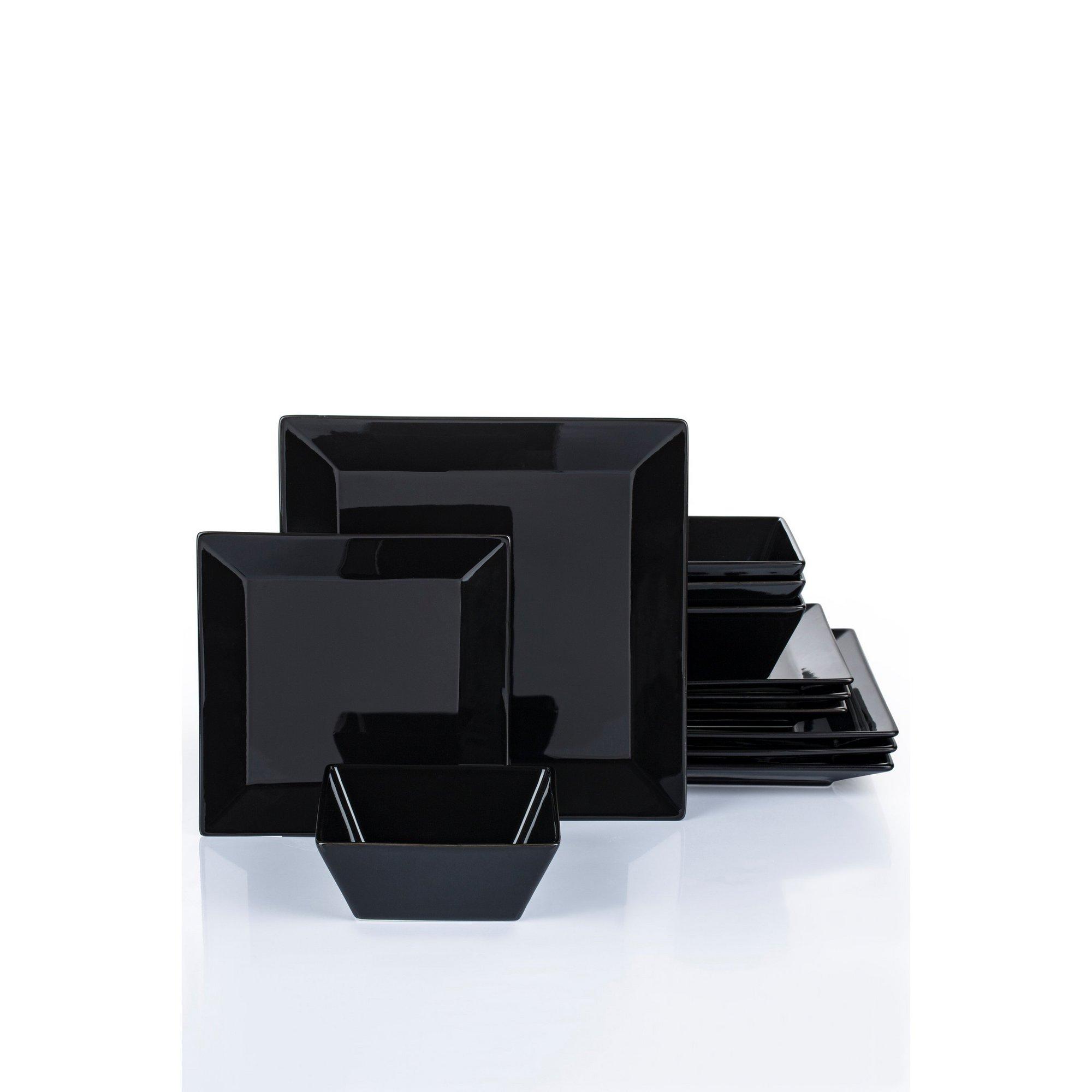 Image of 12 Piece Porcelain Soho Black Dinner Set
