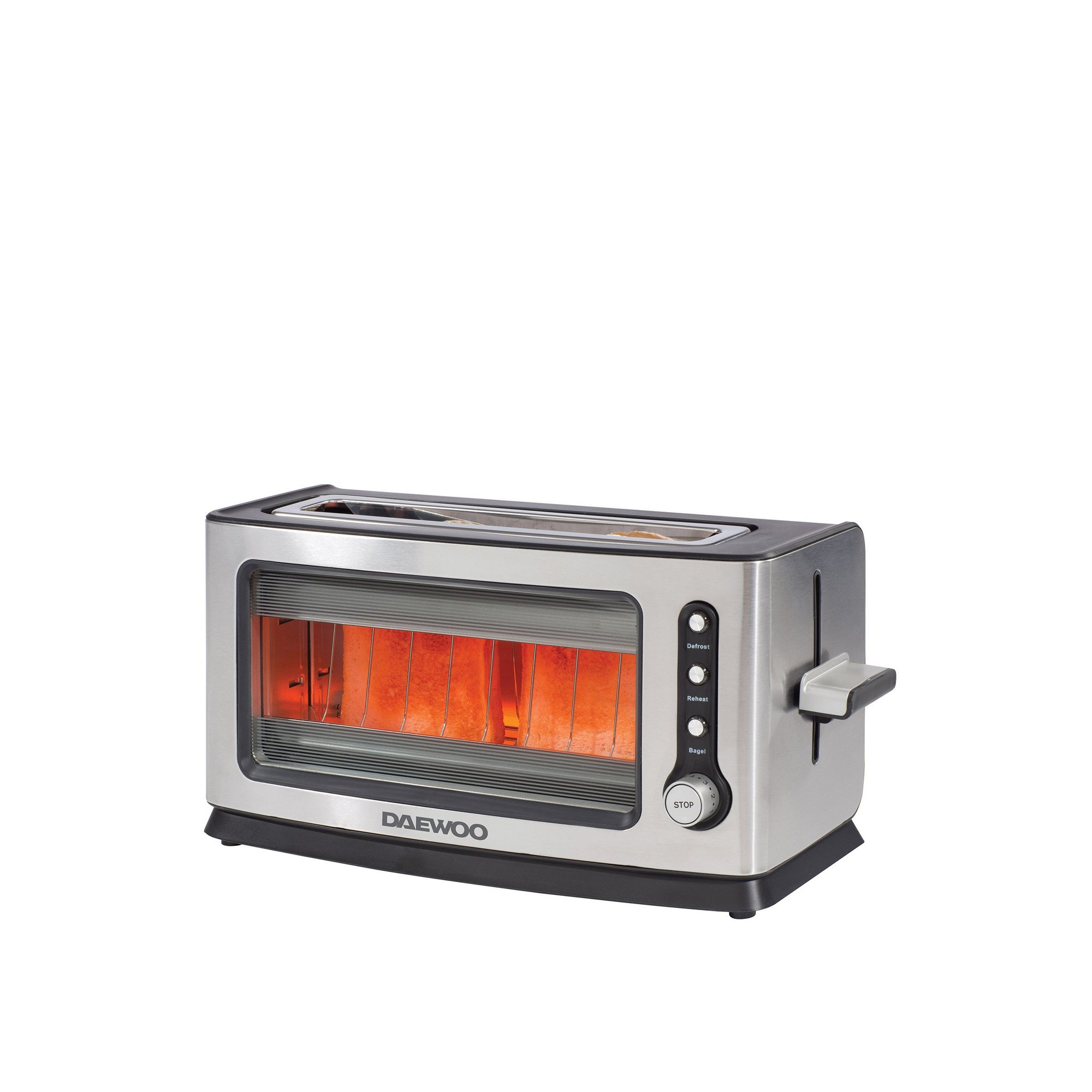 Image of Daewoo 2 Slice Glass Silver Toaster