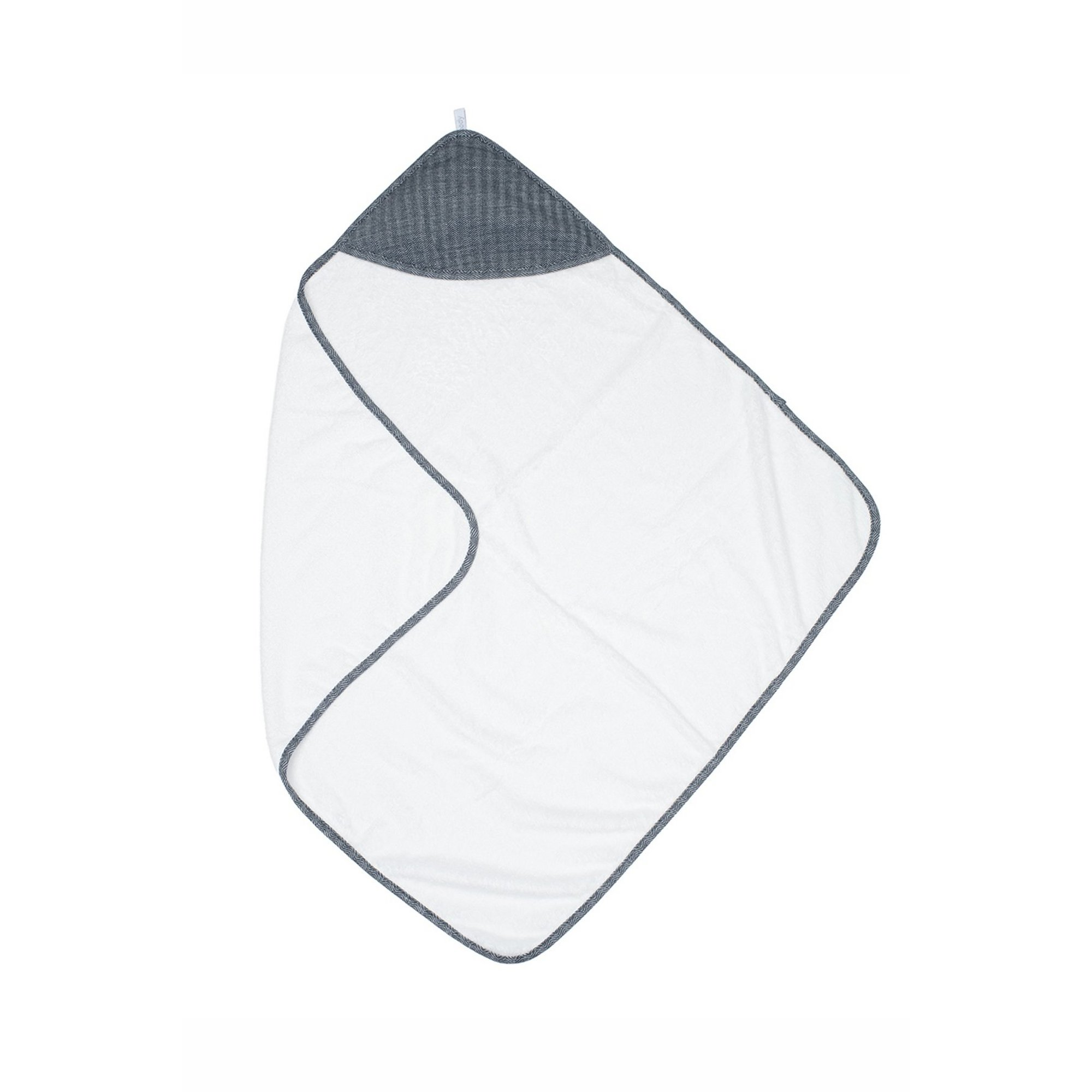 Image of Juddlies Bamboo Collection Hooded Towel White/Lake Blue